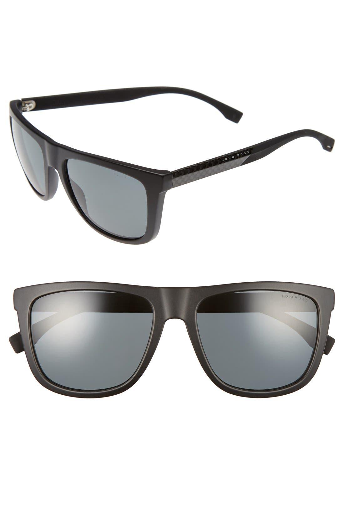 56mm Polarized Sunglasses,                             Main thumbnail 1, color,                             Black Carbon