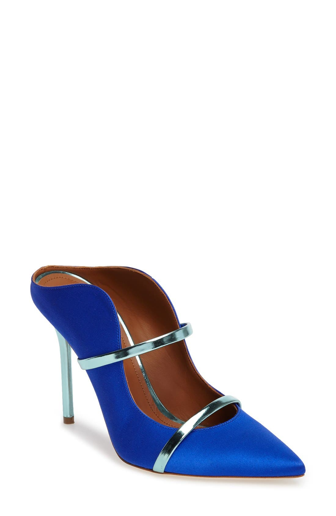 'Maureen' Pointy Toe Mule,                         Main,                         color, Blue Satin