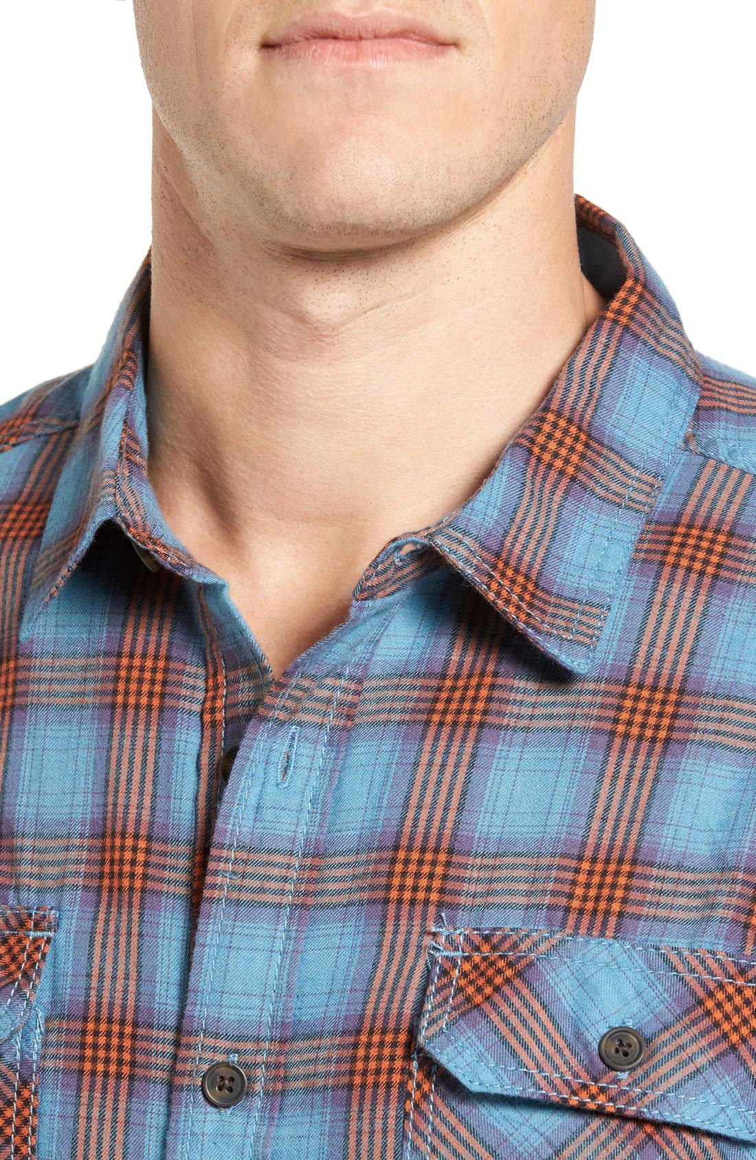 Burner Regular Fit Plaid Flannel Shirt,                             Alternate thumbnail 4, color,                             Vision Blue