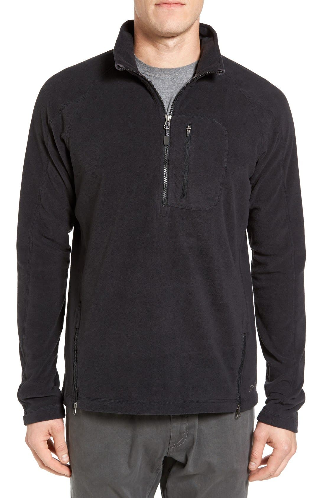 Utility Quarter Zip Fleece Sweater,                         Main,                         color, Black
