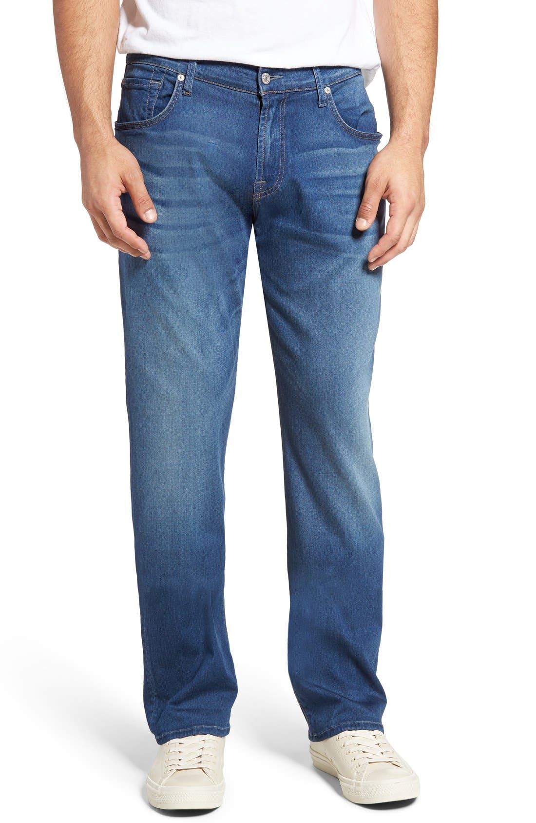 Main Image - 7 For All Mankind® The Straight Luxe Performance Slim Straight Leg Jeans (Retrograde)