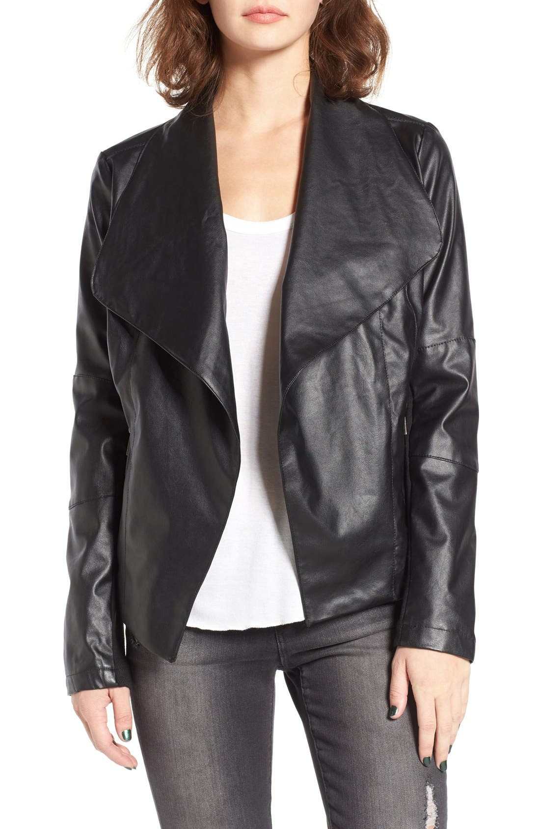 Main Image - Coffee Shop Drape Faux Leather Jacket