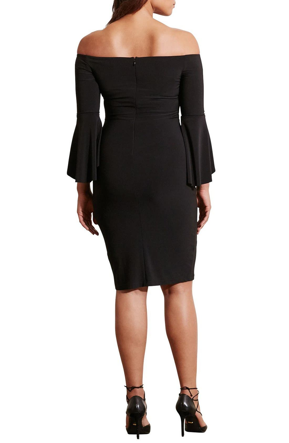 Off the Shoulder Jersey Sheath Dress,                             Alternate thumbnail 2, color,                             Black