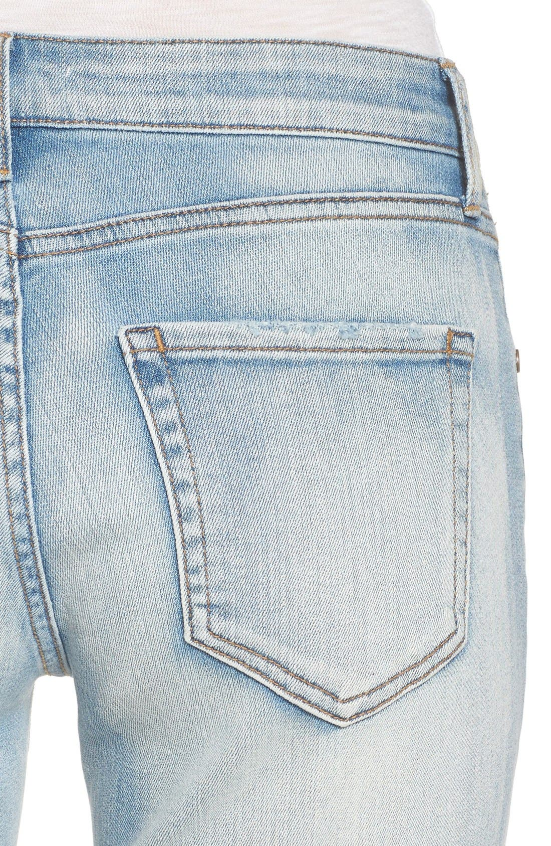 Ripped Skinny Boyfriend Jeans,                             Alternate thumbnail 4, color,                             Mission Bay