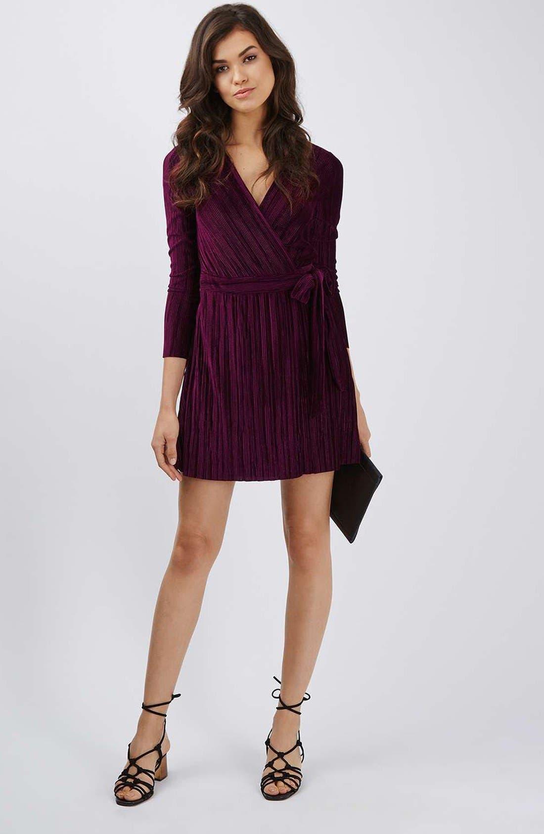 Velvet Wrap Dress,                             Alternate thumbnail 2, color,                             Wine