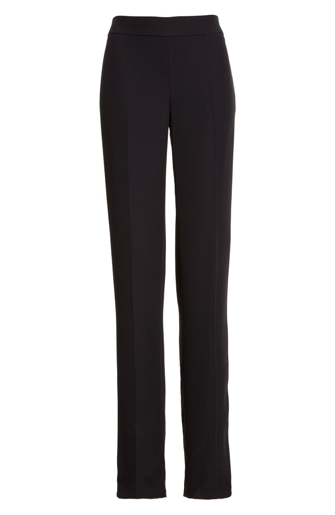 Side Zip Cady Pants,                             Alternate thumbnail 4, color,                             Black