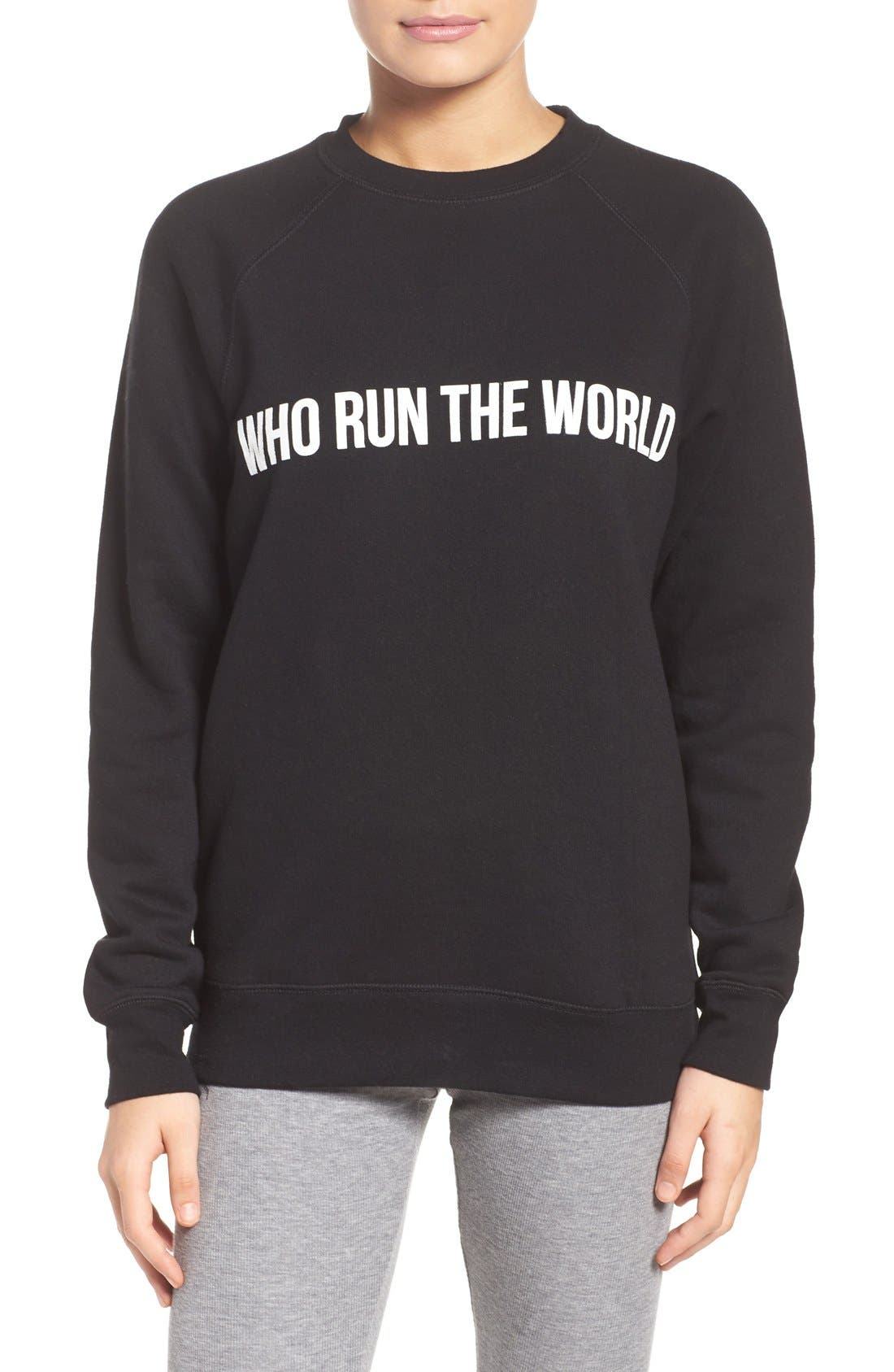 Who Run the World Sweatshirt,                         Main,                         color, Black