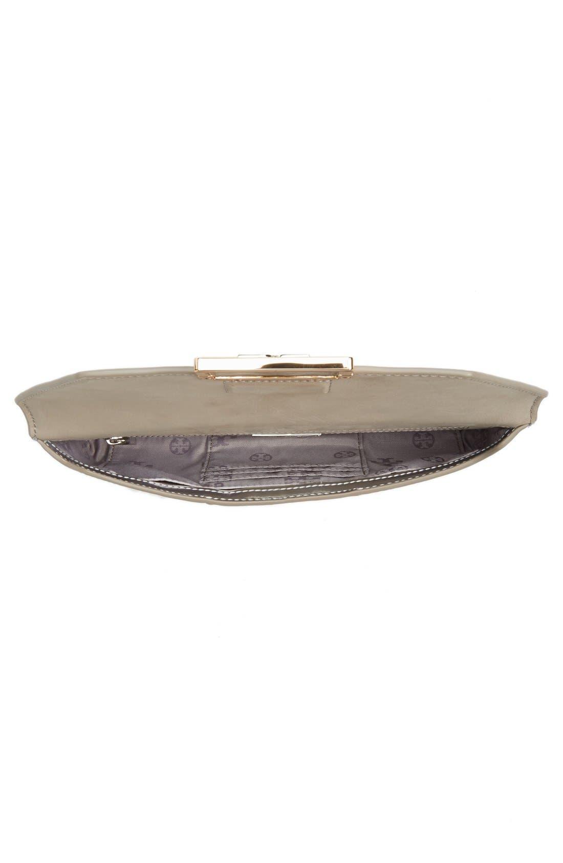 Gigi Metallic Leather Clutch,                             Alternate thumbnail 4, color,                             Silver Leather Standard