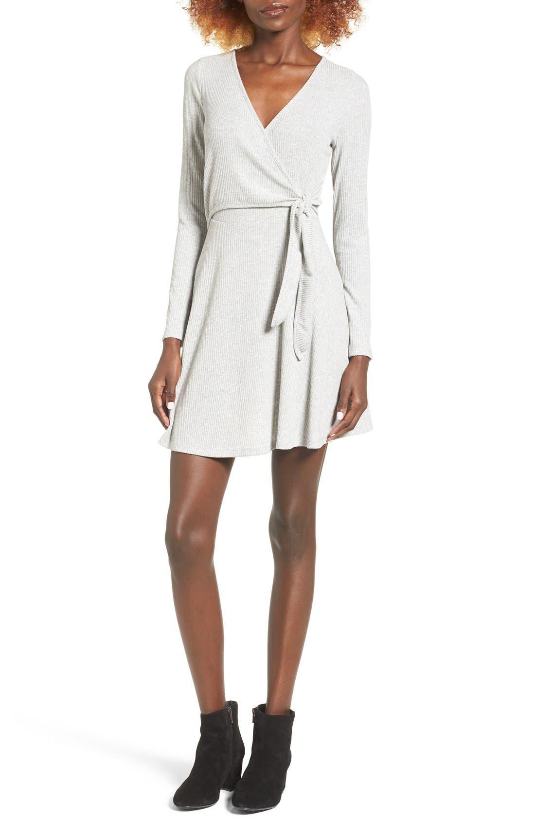 Main Image - Everly Rib Knit Wrap Dress