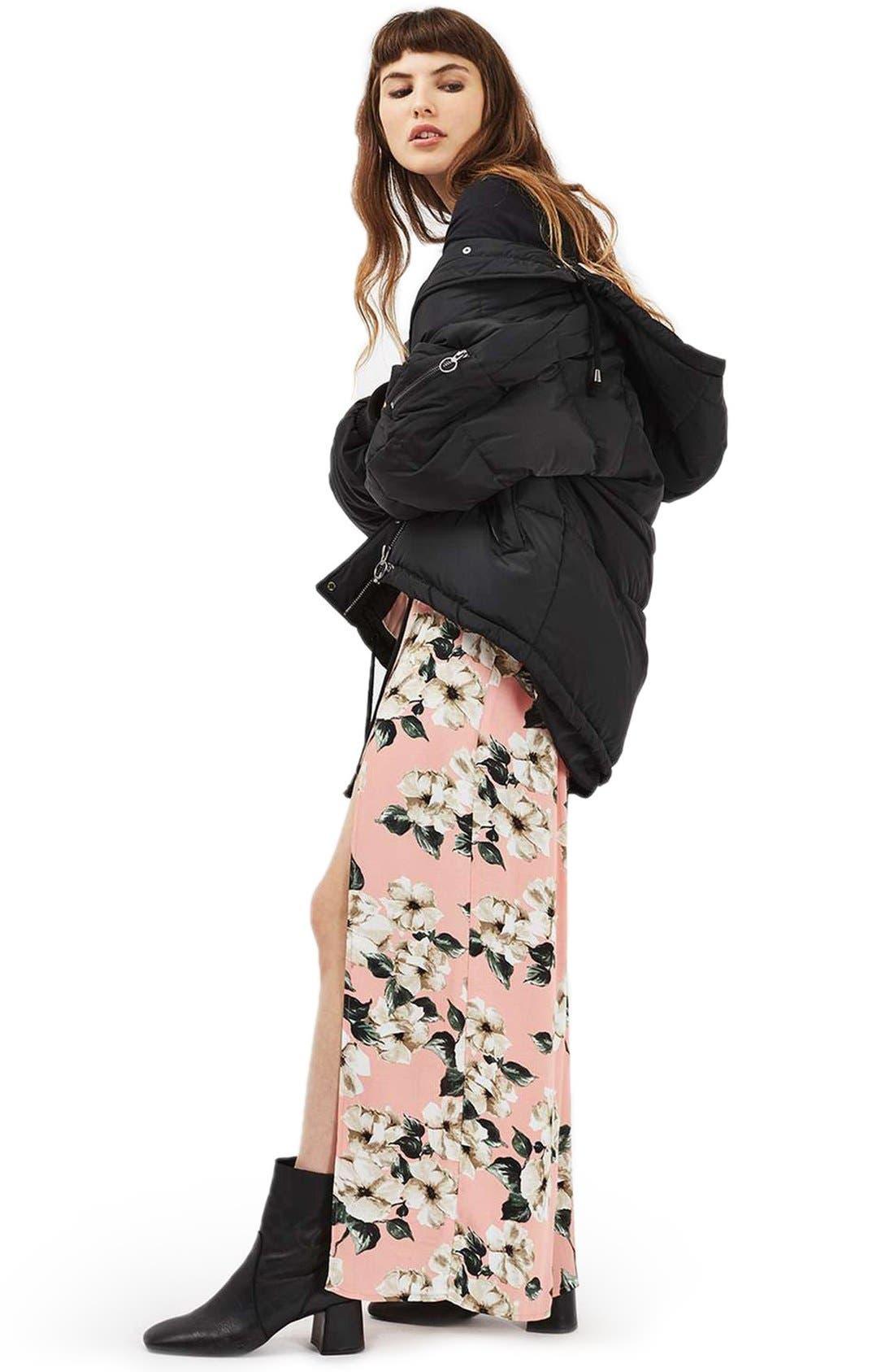 Alternate Image 2  - Topshop Sugar Flower Double Slit Maxi Skirt