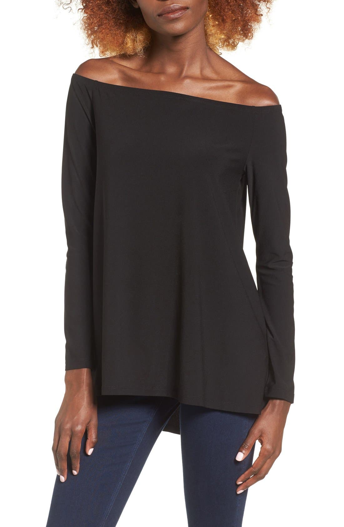 Off the Shoulder Tee,                         Main,                         color, Black