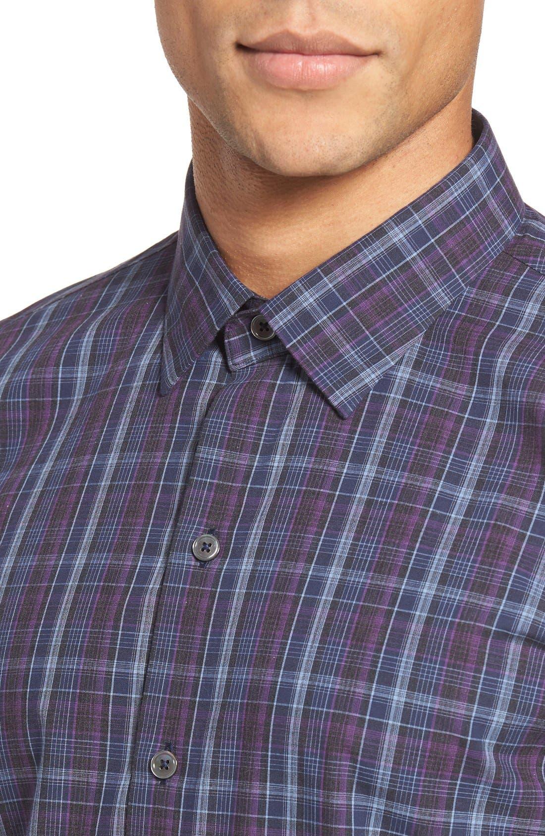 Bulatao Trim Fit Plaid Sport Shirt,                             Alternate thumbnail 4, color,                             Purple