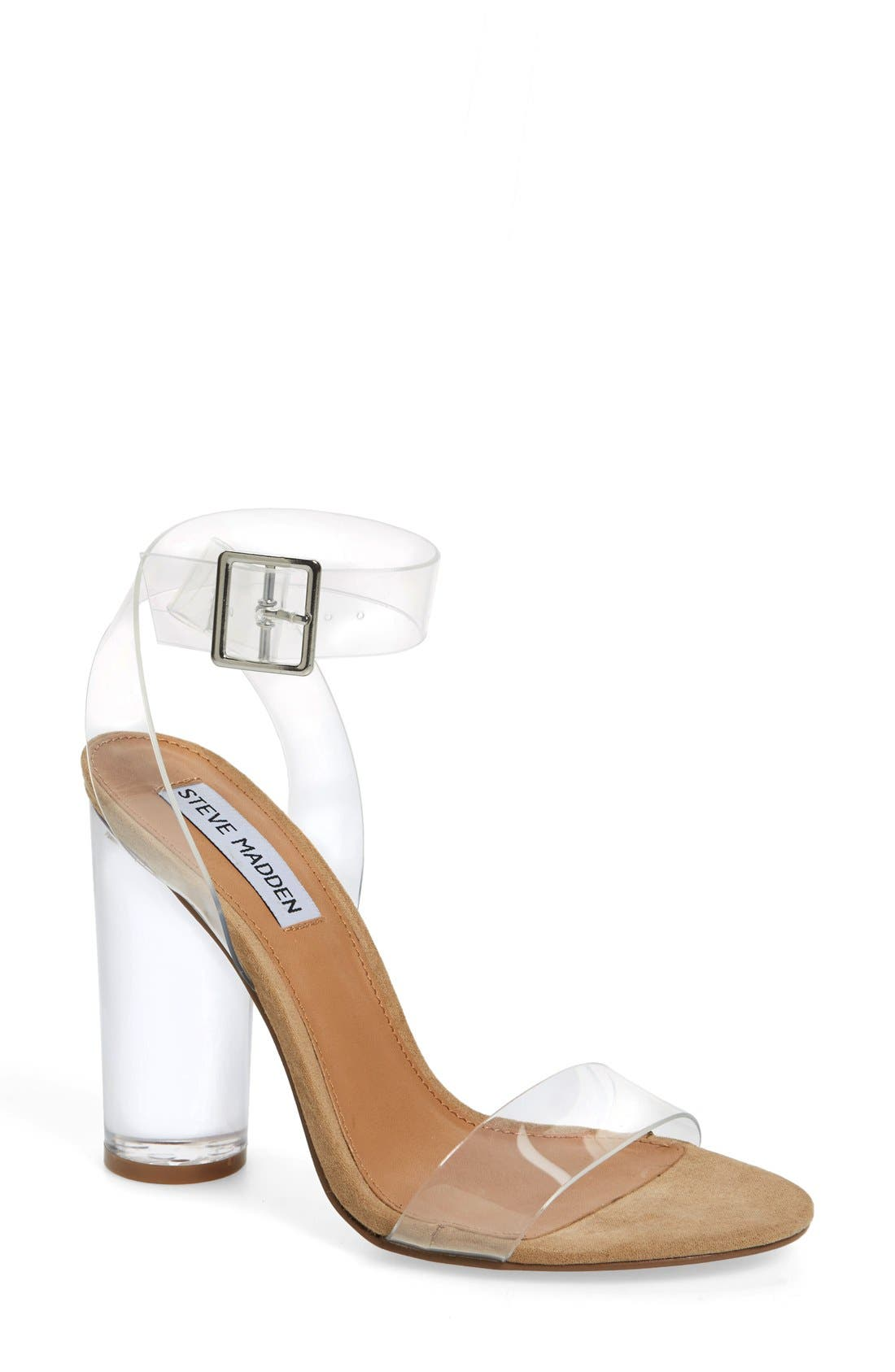 Clearer Column Heel Sandal,                         Main,                         color, Clear