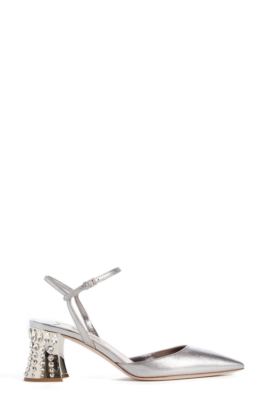 Jeweled Heel Ankle Strap Pump,                             Alternate thumbnail 4, color,                             Metallic Silver Leather