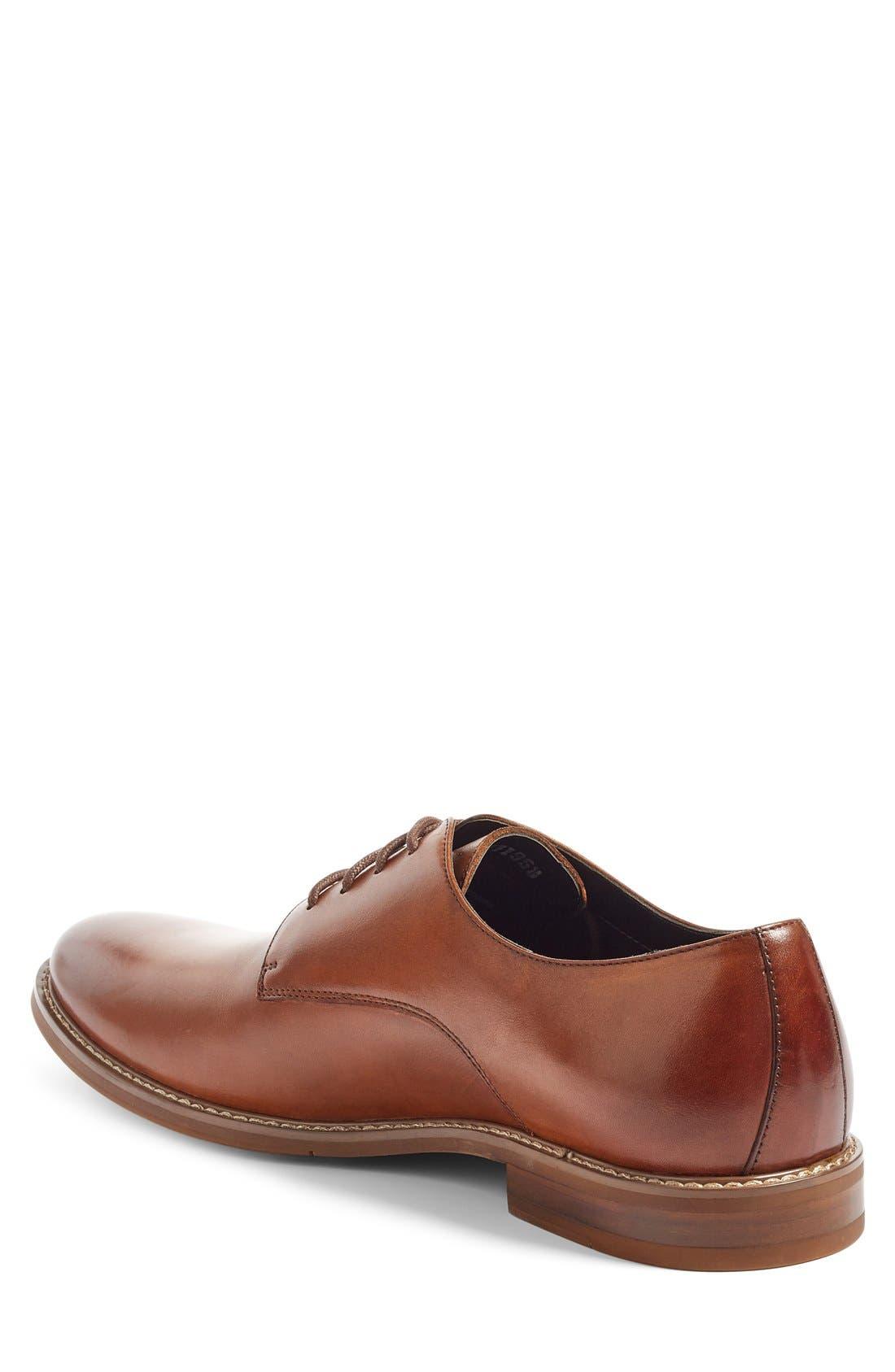 Everett Plain Toe Derby,                             Alternate thumbnail 2, color,                             Tan Leather
