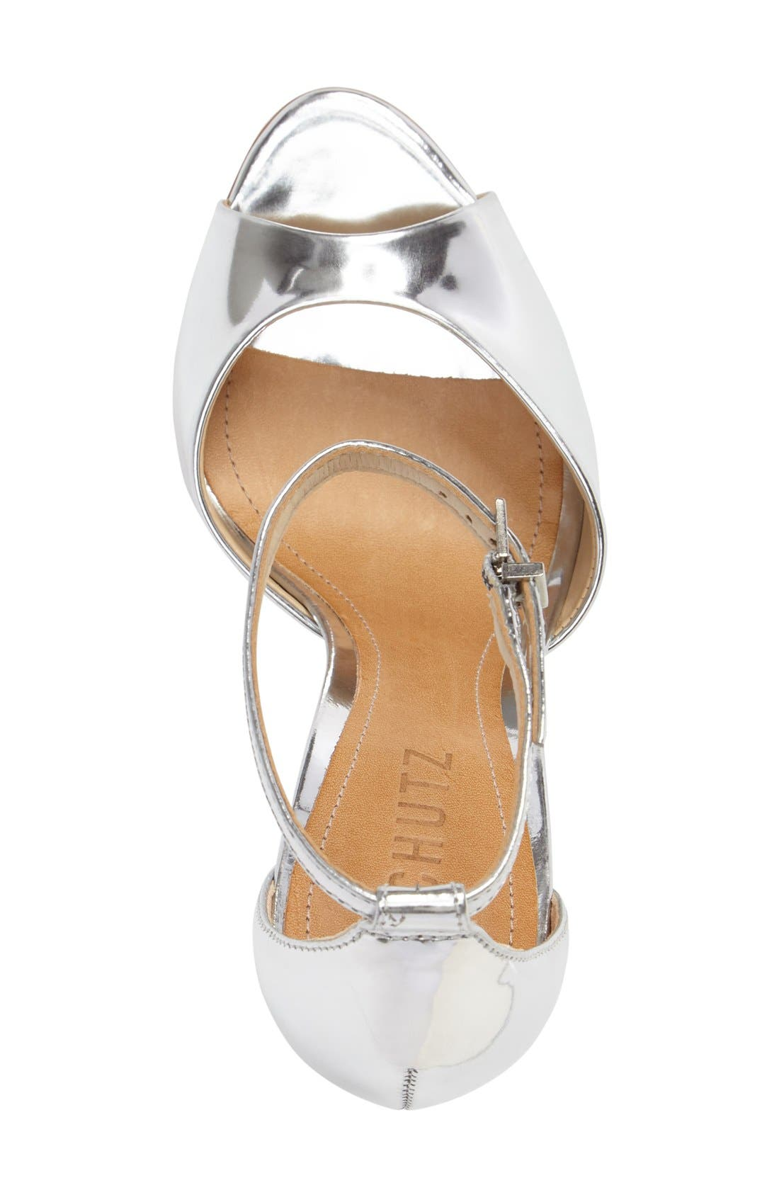 Saasha Lee Ankle Strap Sandal,                             Alternate thumbnail 3, color,                             Silver Leather