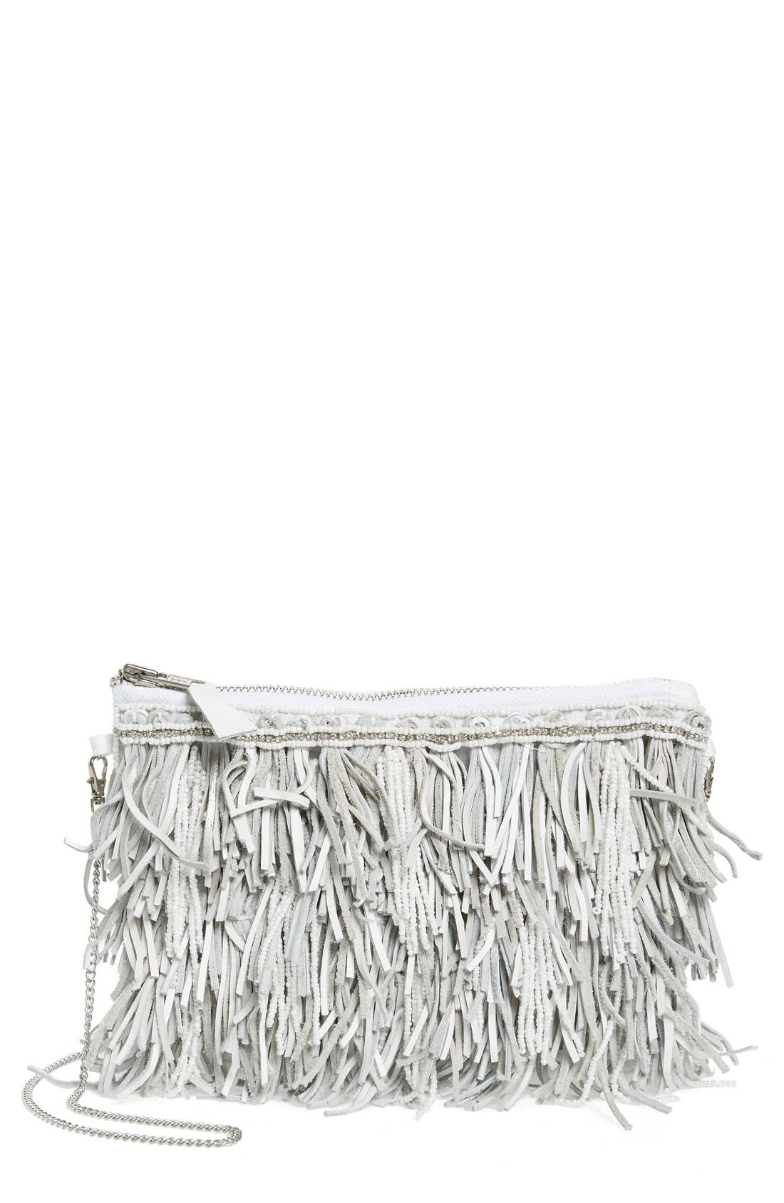 Alternate Image 1 Selected - G-lish Bead & Leather Fringe Crossbody Bag