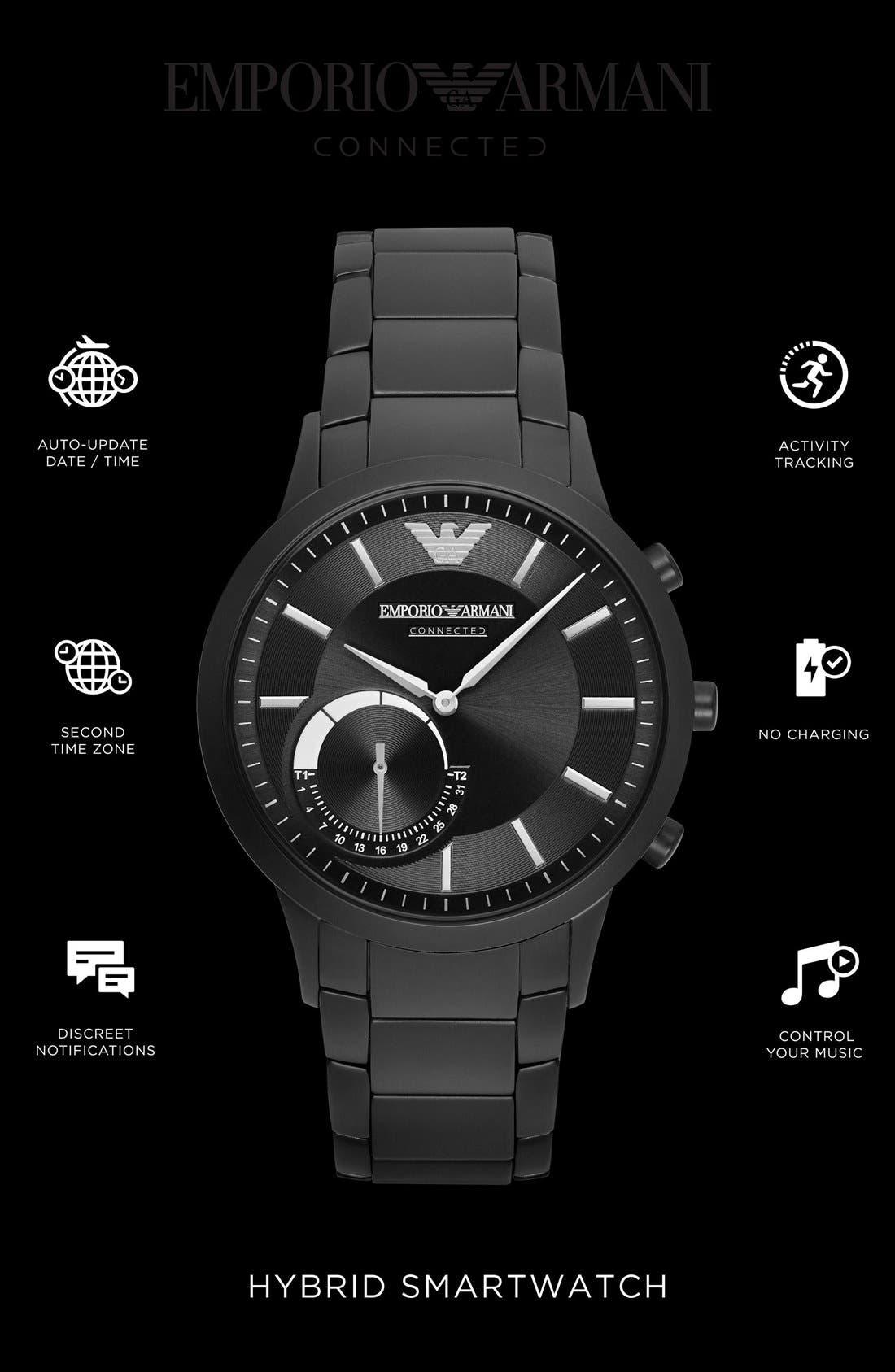 Bracelet Hybrid Smart Watch, 43mm,                             Alternate thumbnail 6, color,                             Black