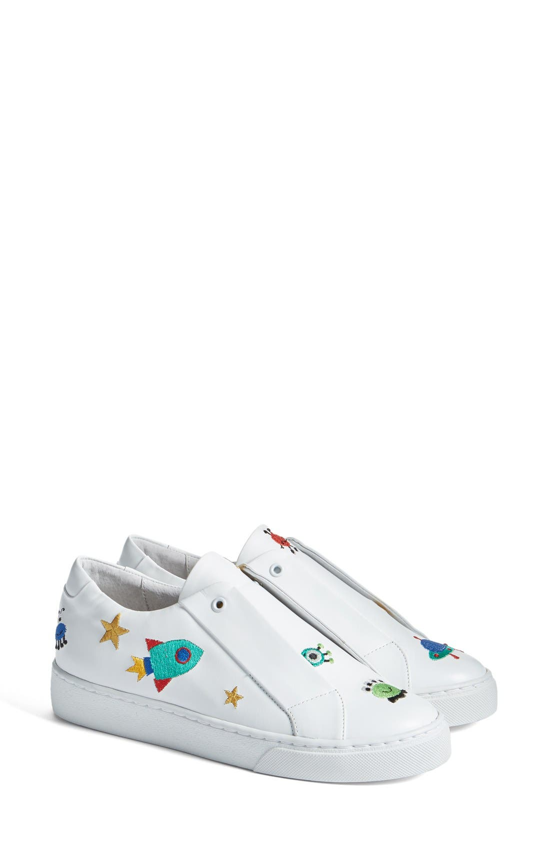 Halley Slip-On Sneaker,                             Main thumbnail 1, color,                             White Leather