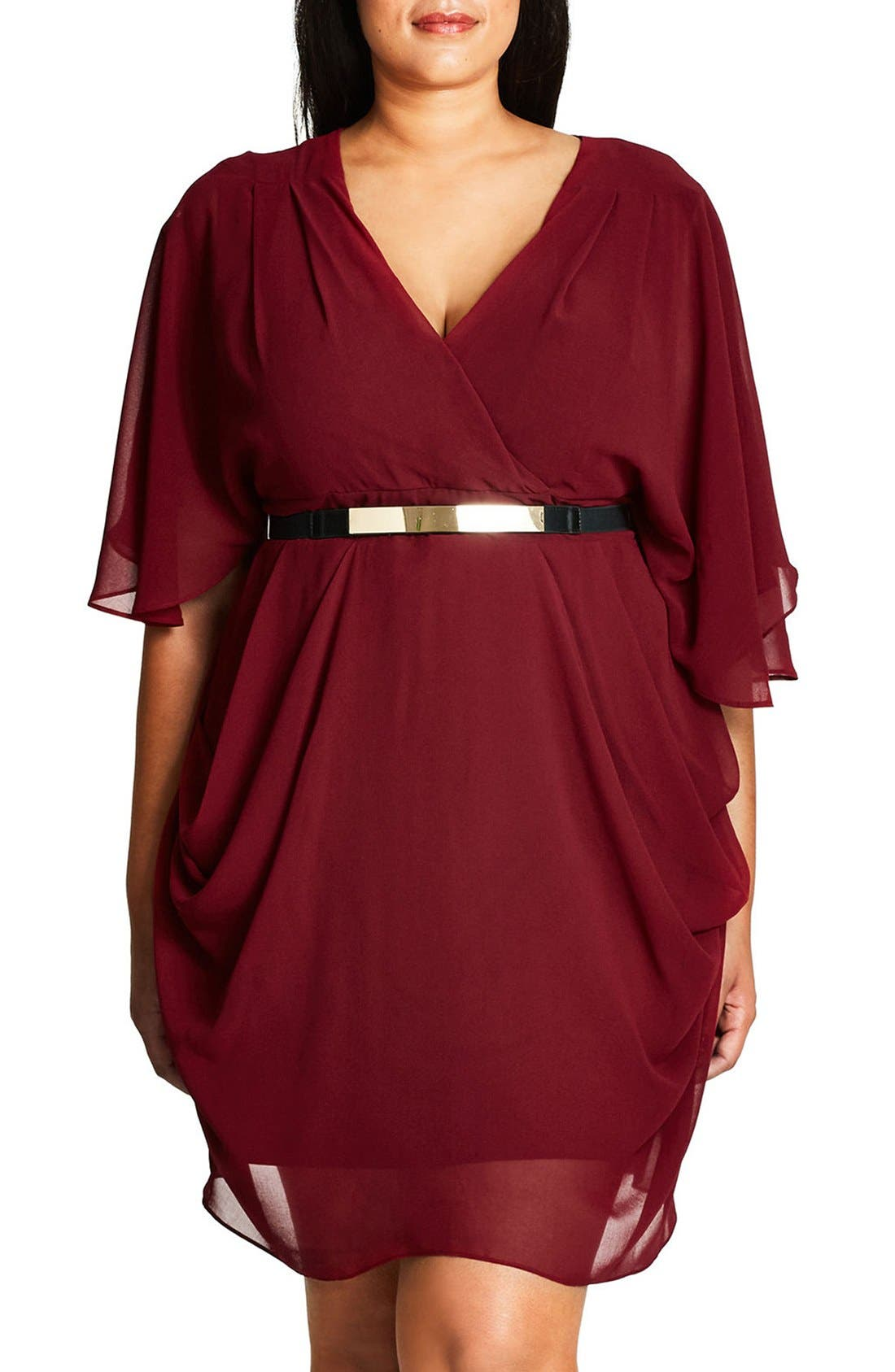 Belted Chiffon Faux Wrap Dress,                         Main,                         color, Ruby
