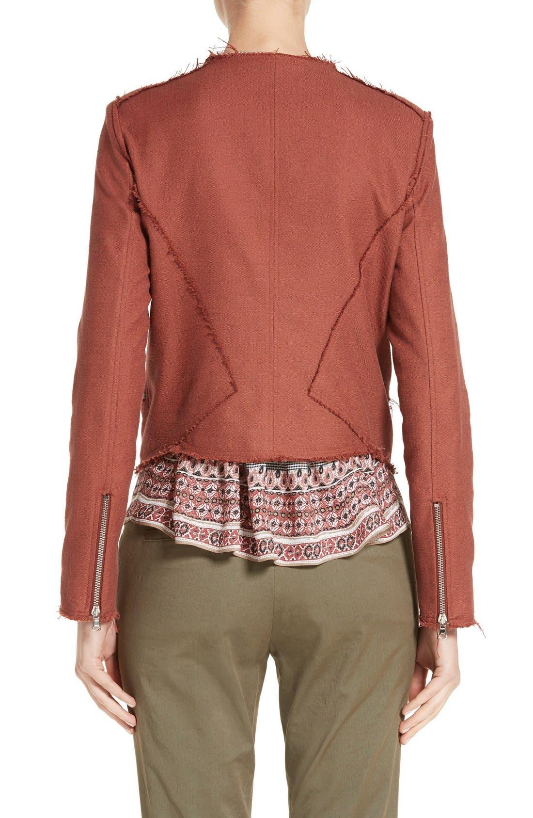 Alternate Image 3  - Veronica Beard Stevie Fringe Trim Moto Jacket