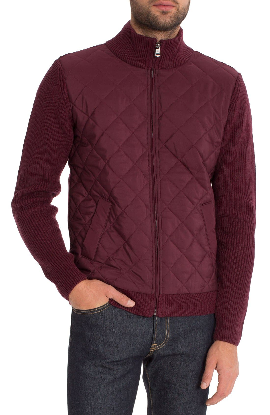 'Gatti' Quilted Panel Lambswool Knit Jacket,                             Main thumbnail 1, color,                             Maroon