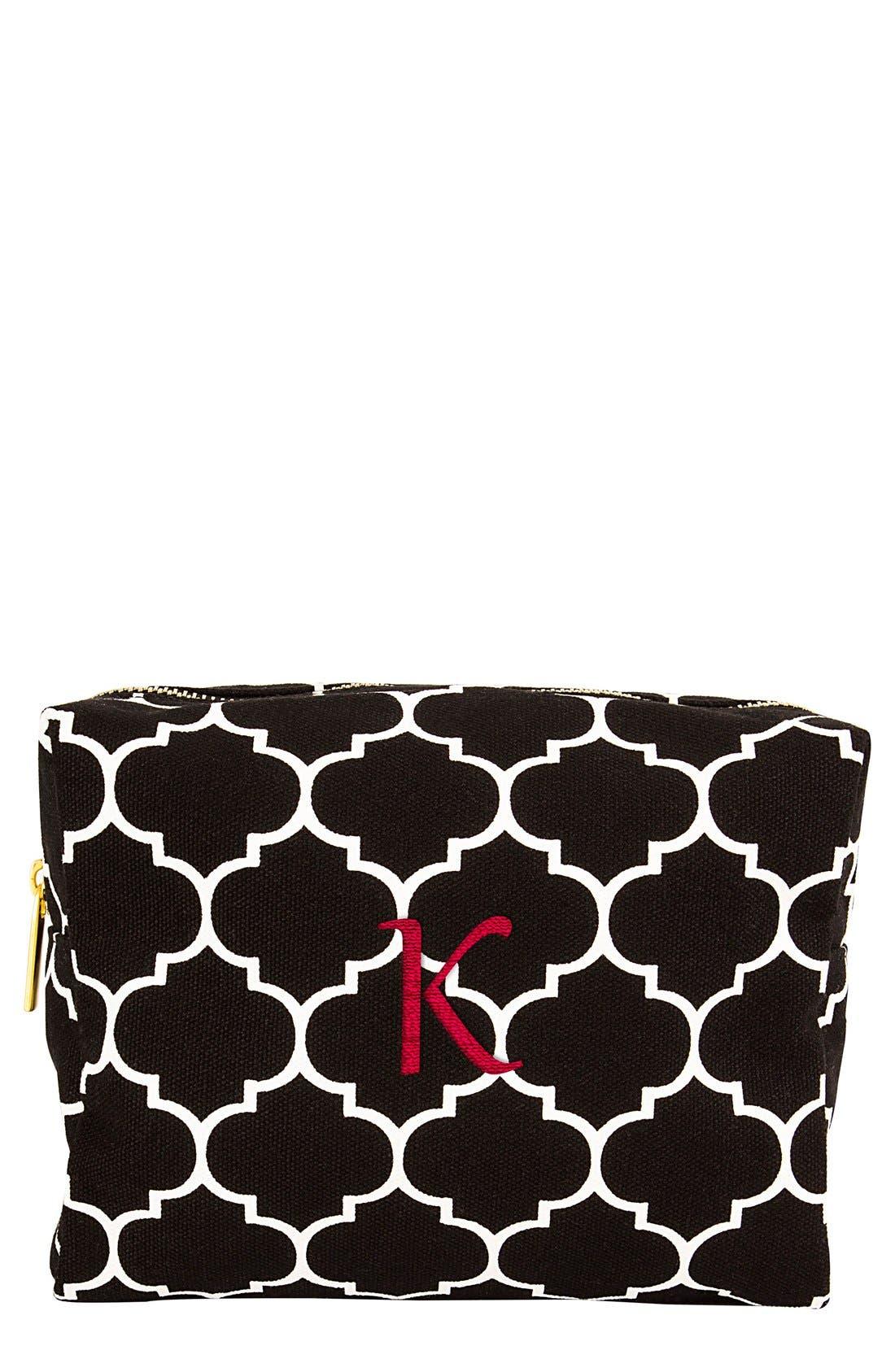 Monogram Cosmetics Bag,                             Main thumbnail 1, color,                             Black-K