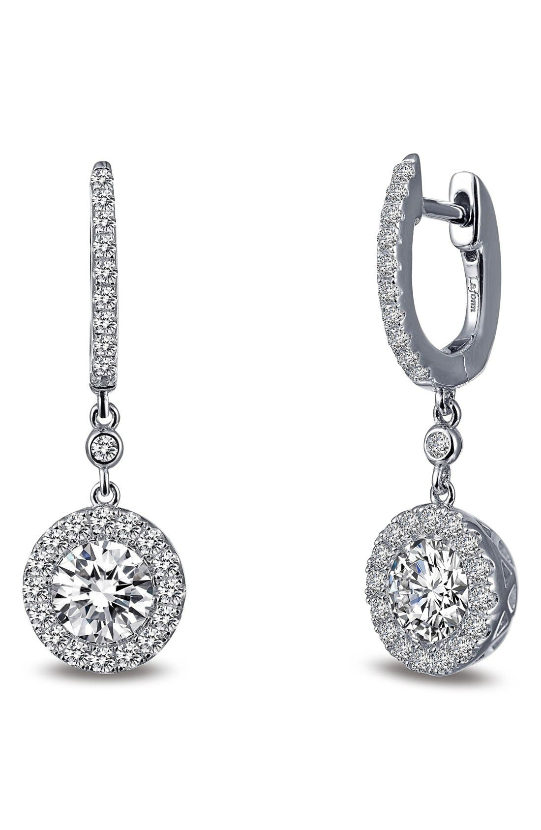 Classic Halo Drop Earrings,                             Main thumbnail 1, color,                             Silver