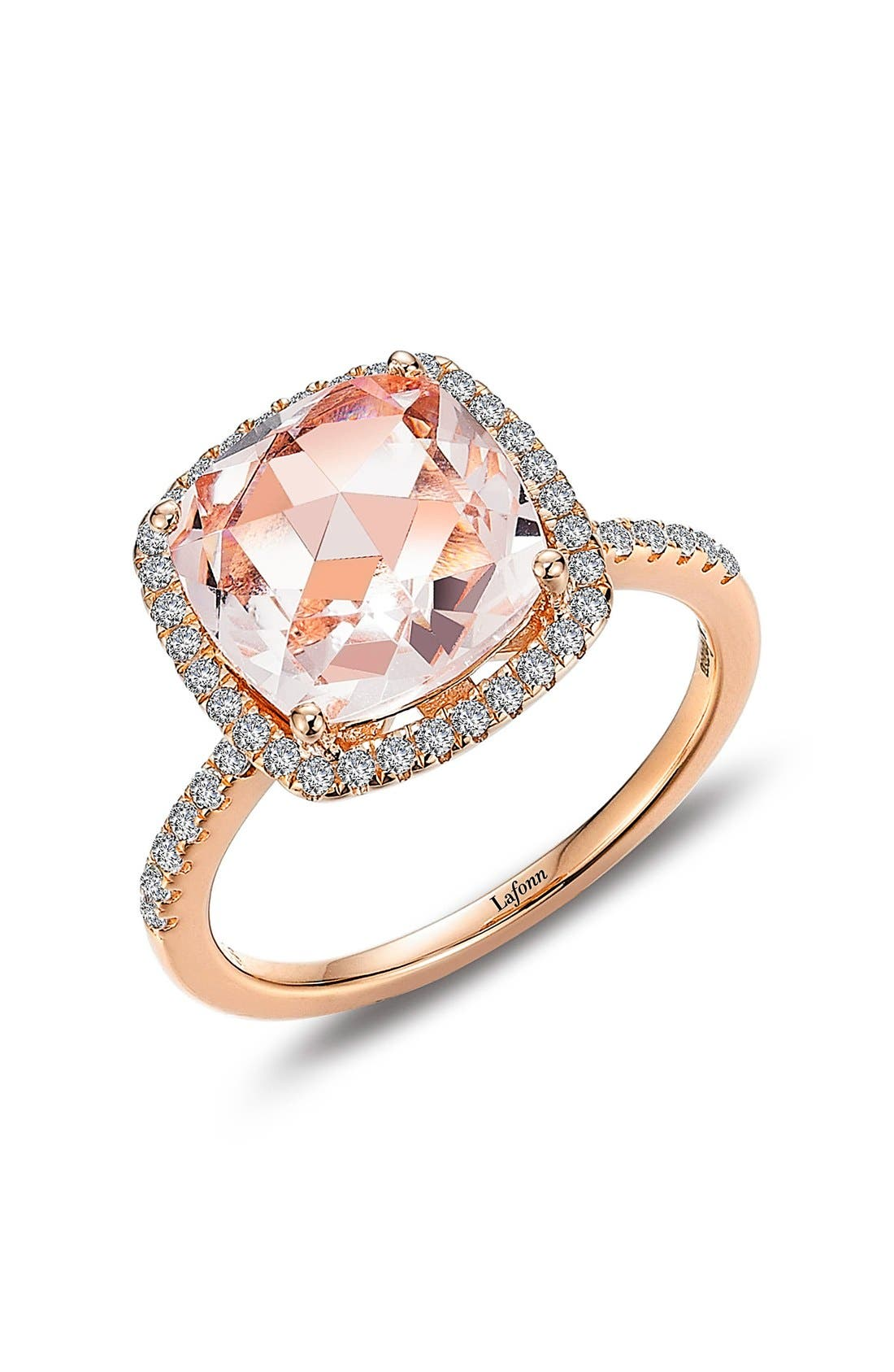 Classic Square Halo Ring,                             Main thumbnail 1, color,                             Pink / Rose Gold