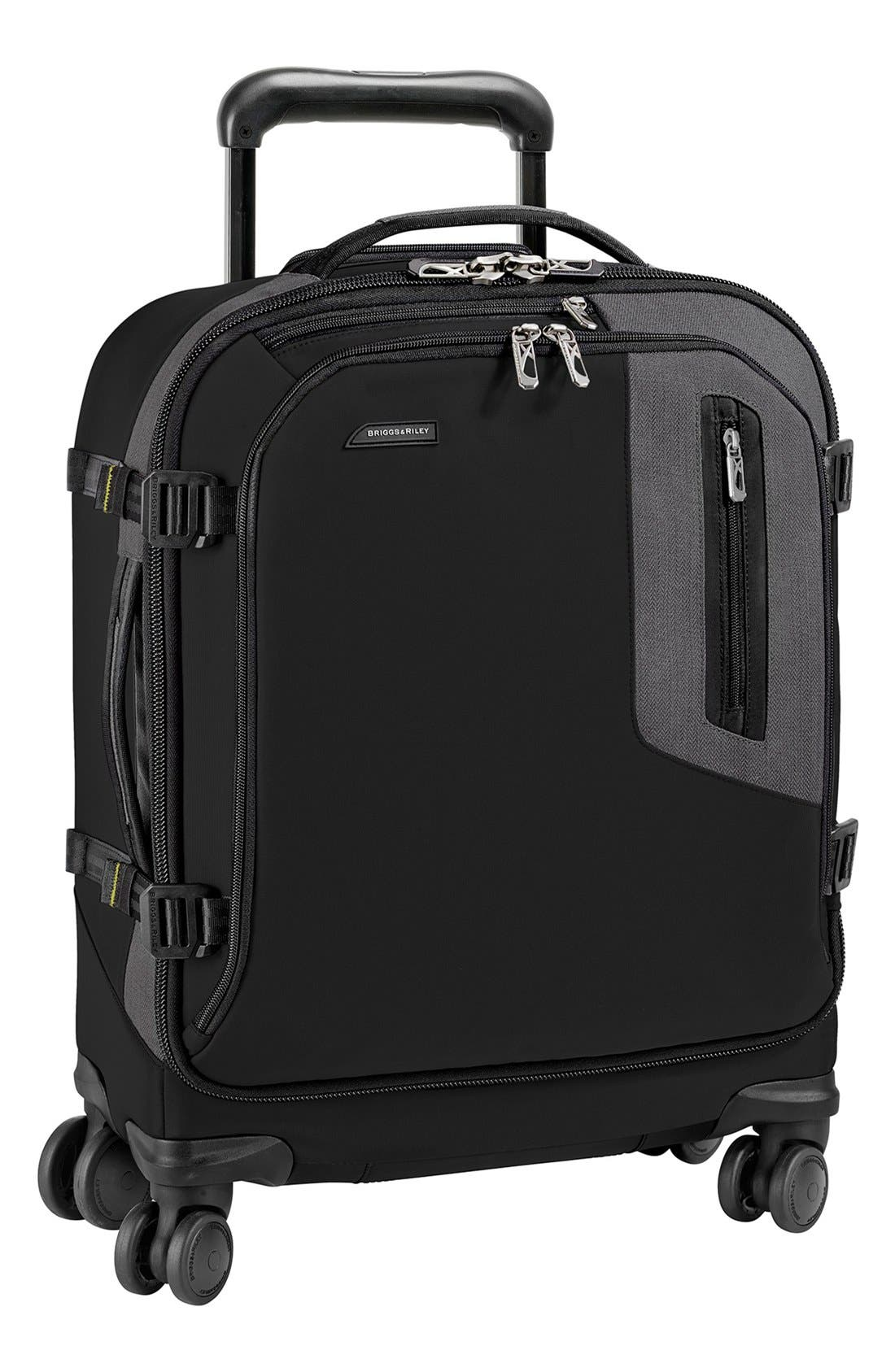 'Explore' Wheeled Domestic Spinner Carry-On,                             Main thumbnail 1, color,                             Black