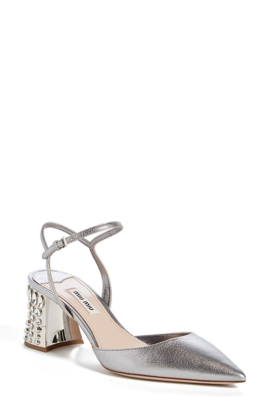 Jeweled Heel Ankle Strap Pump,                             Main thumbnail 1, color,                             Metallic Silver Leather