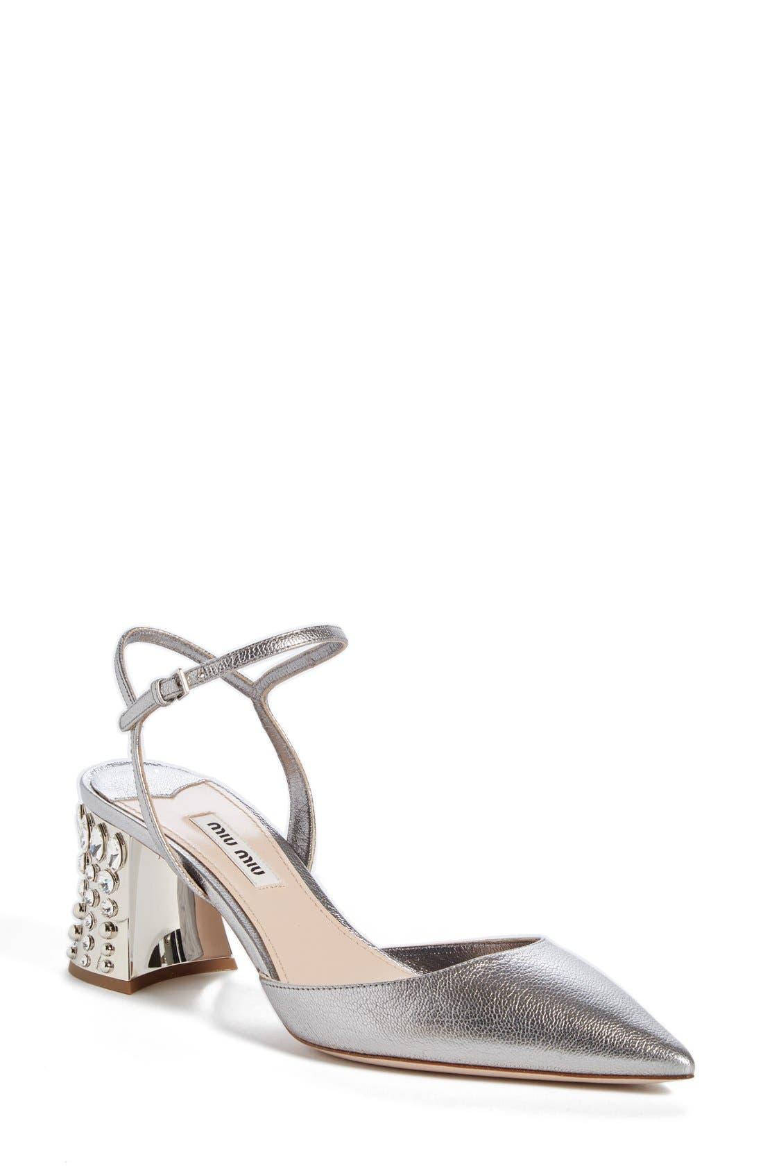 Miu Miu Jeweled Heel Ankle Strap Pump (Women)