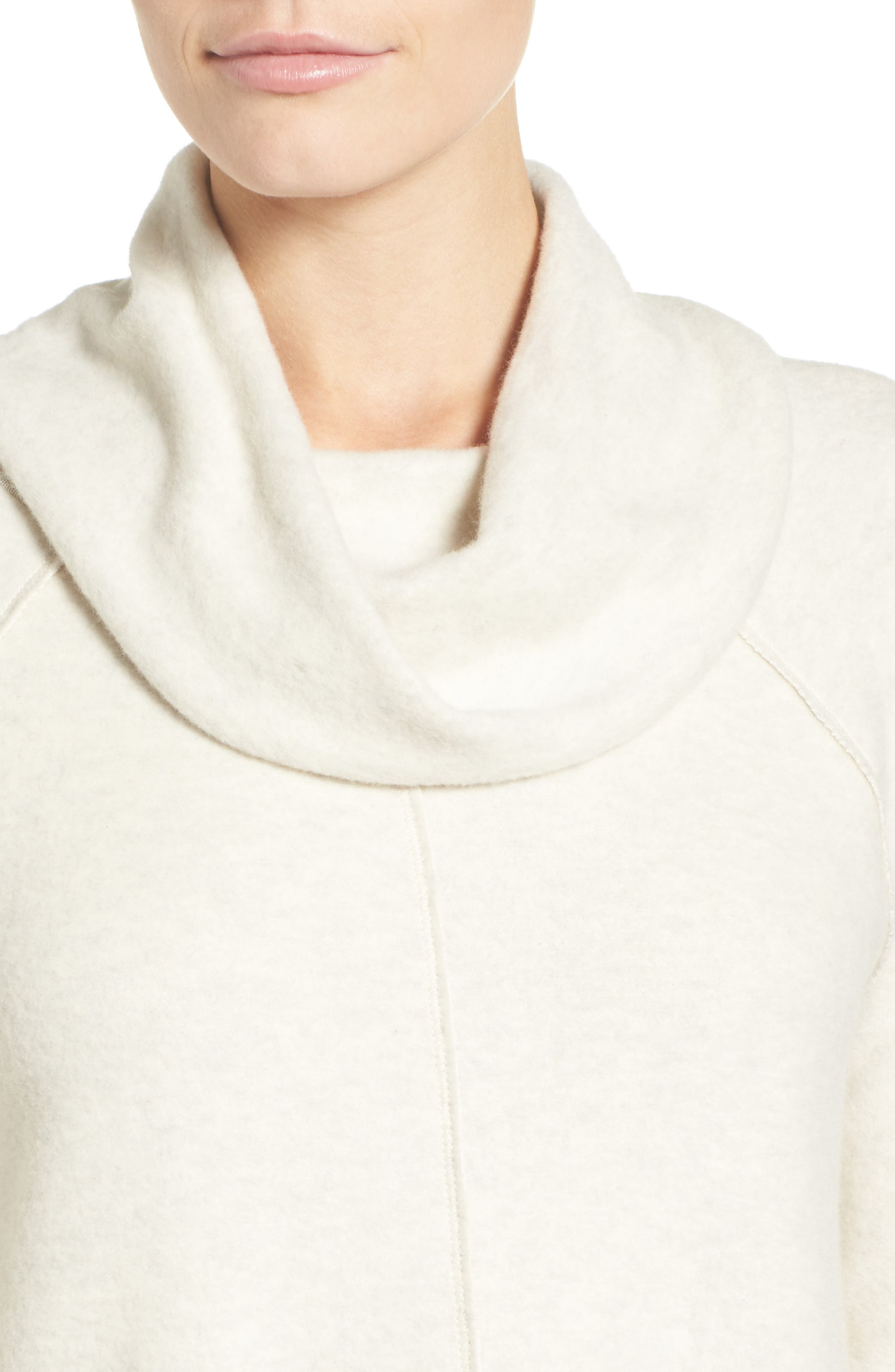 Knit Cowl Neck Tunic,                             Alternate thumbnail 4, color,                             Heather Oatmeal
