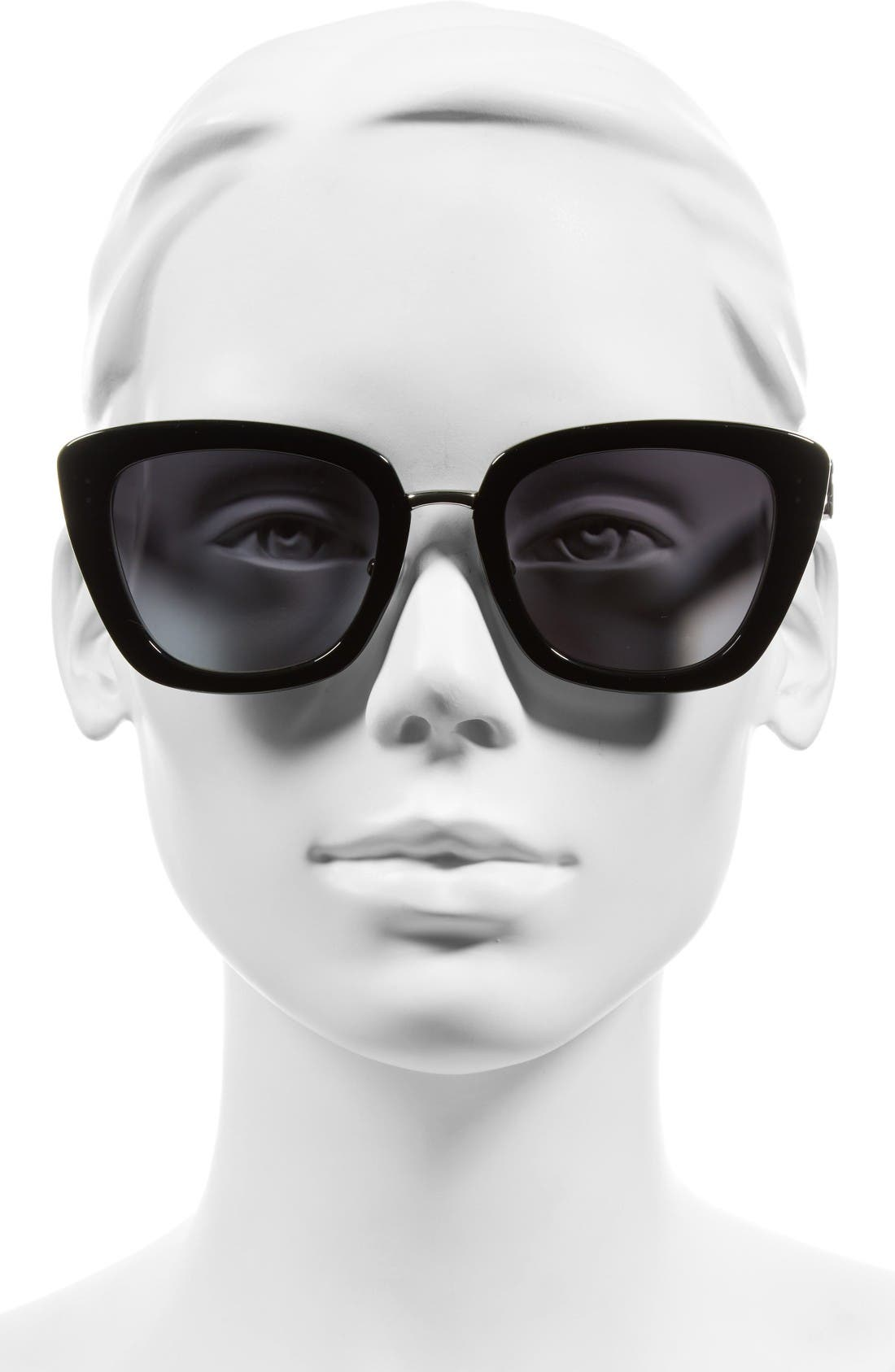 53mm Oversized Sunglasses,                             Alternate thumbnail 2, color,                             Black