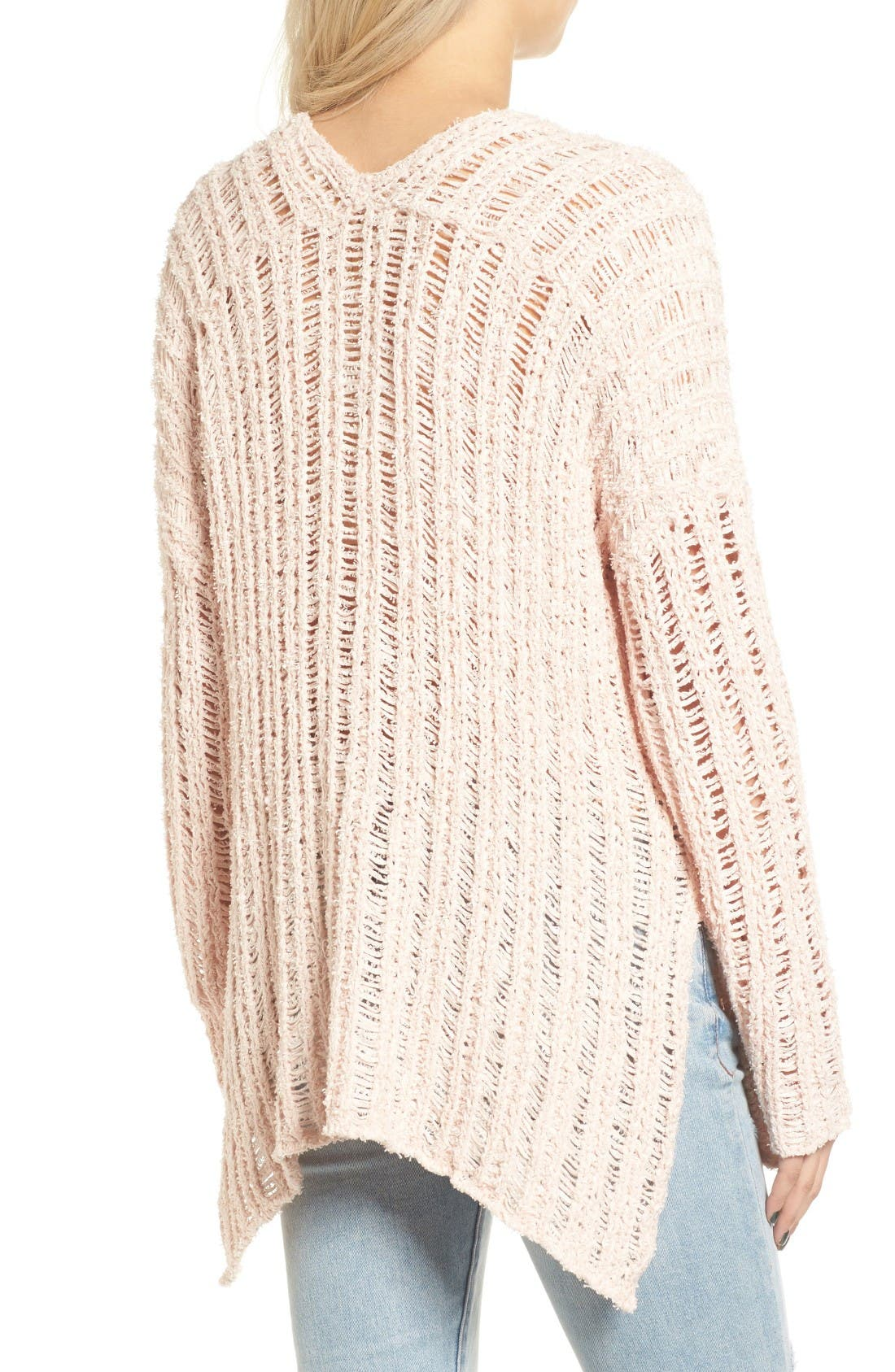 Open Knit Sweater,                             Alternate thumbnail 2, color,                             Pink Hero