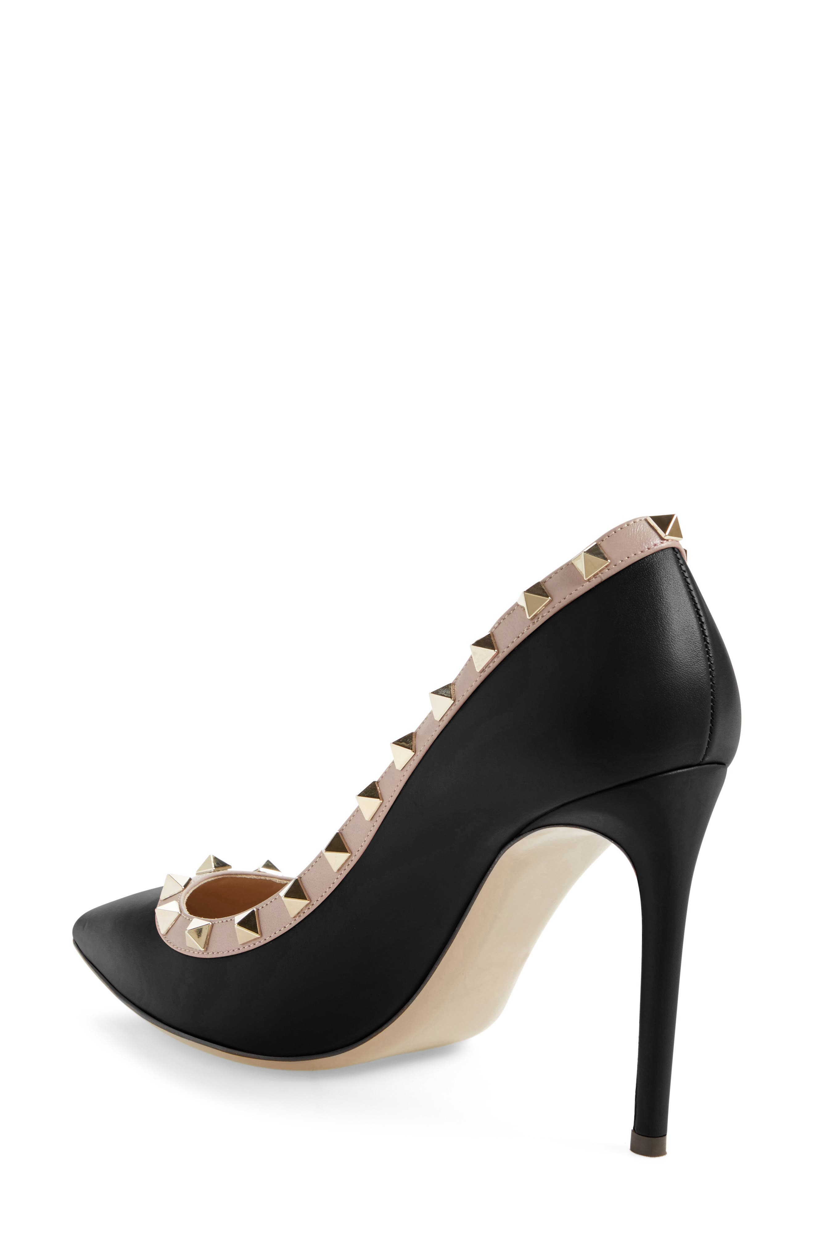 Rockstud Pointed Pump,                             Alternate thumbnail 2, color,                             Black/ Nude Leather