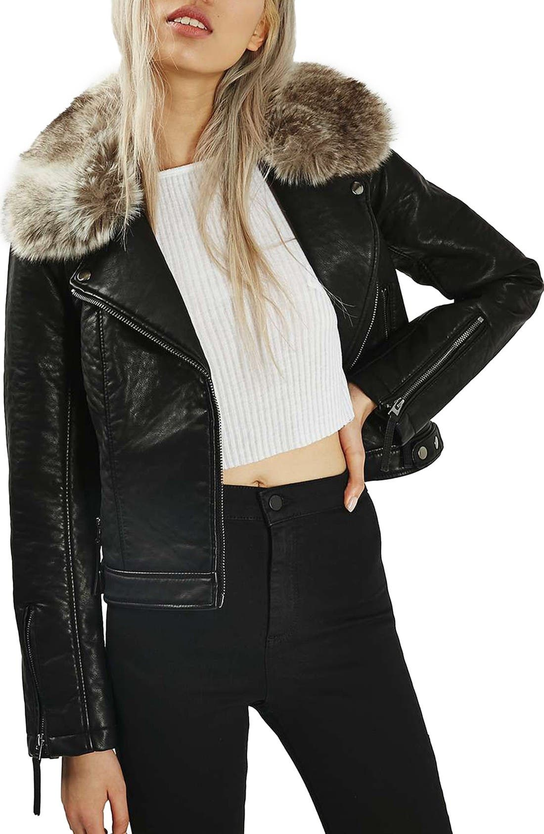 Alternate Image 1 Selected - Topshop 'Honey' Faux Fur Collar Faux Leather Moto Jacket