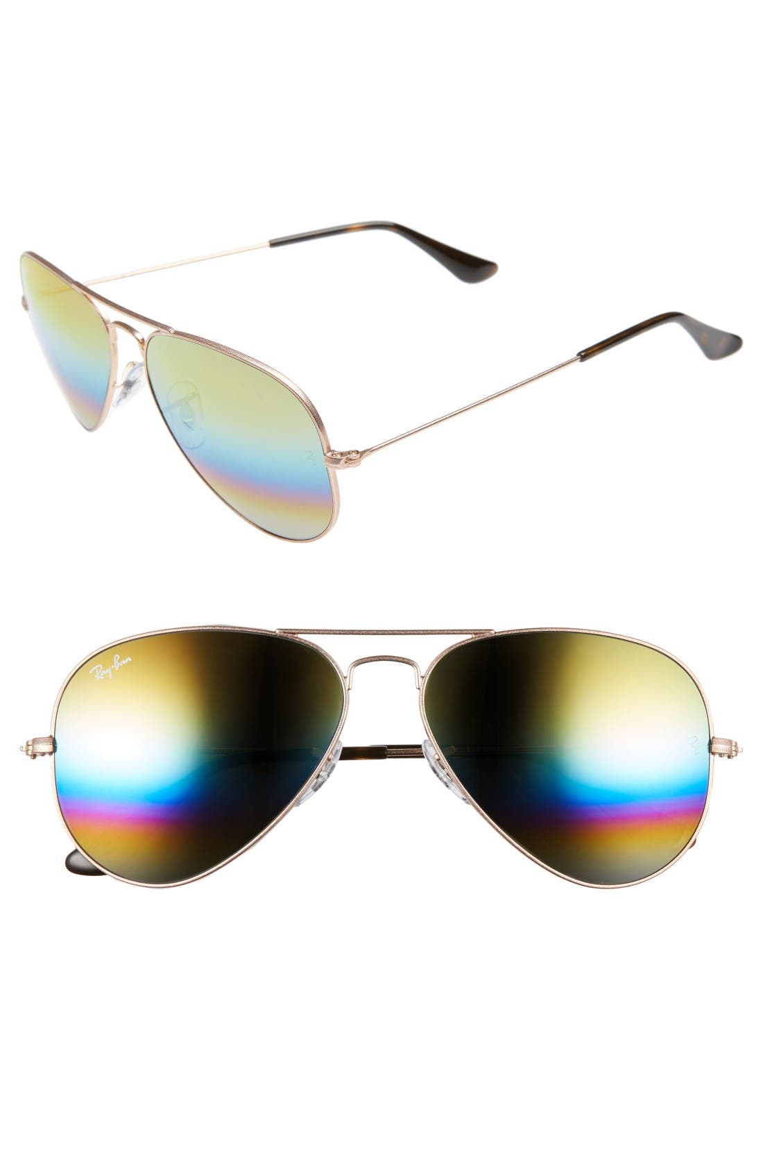 58mm Aviator Sunglasses,                         Main,                         color, Metallic Lght Bronze/ Mirror