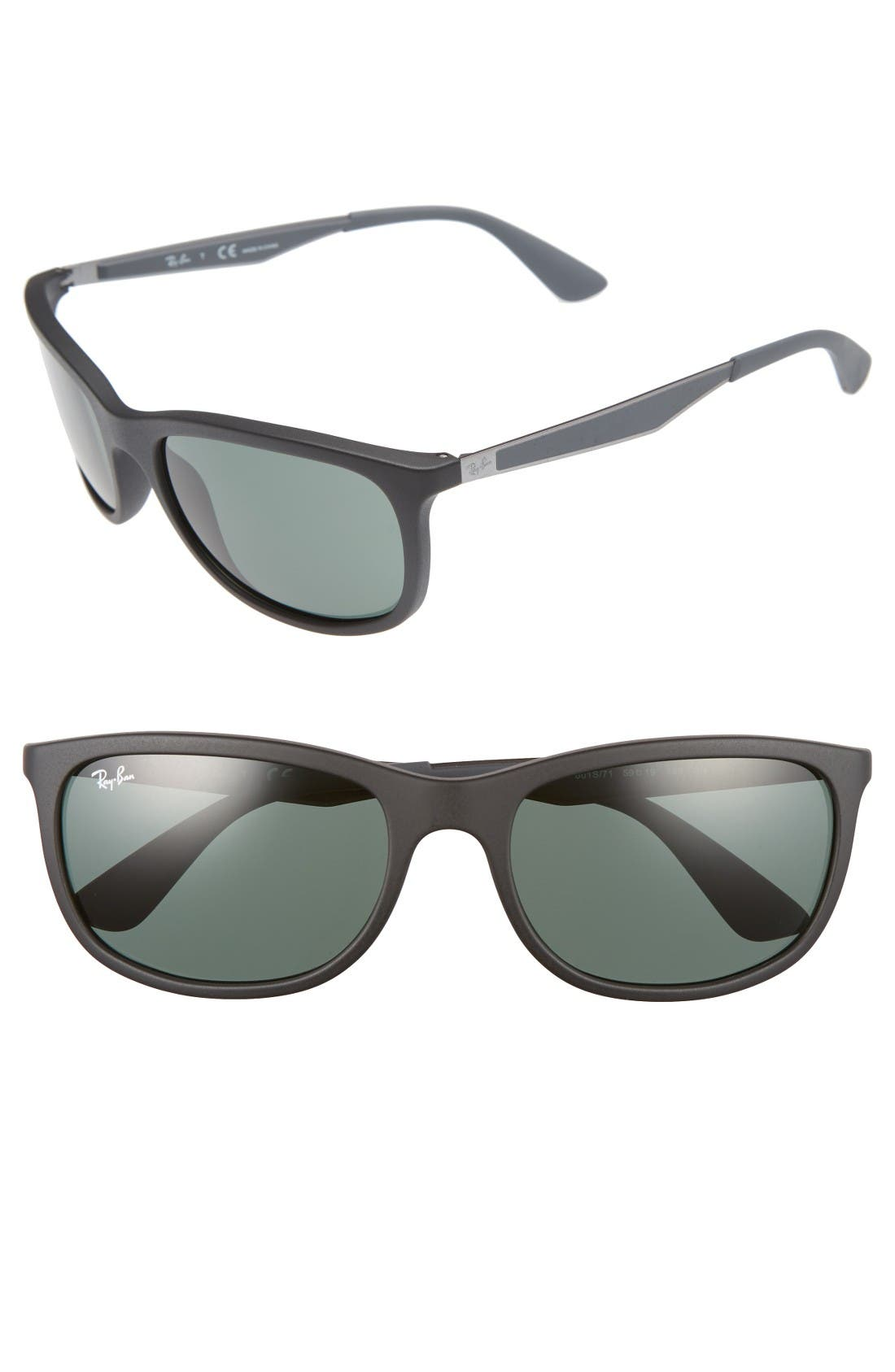Wayfarer 59mm Sunglasses,                             Main thumbnail 1, color,                             Matte Black/Green