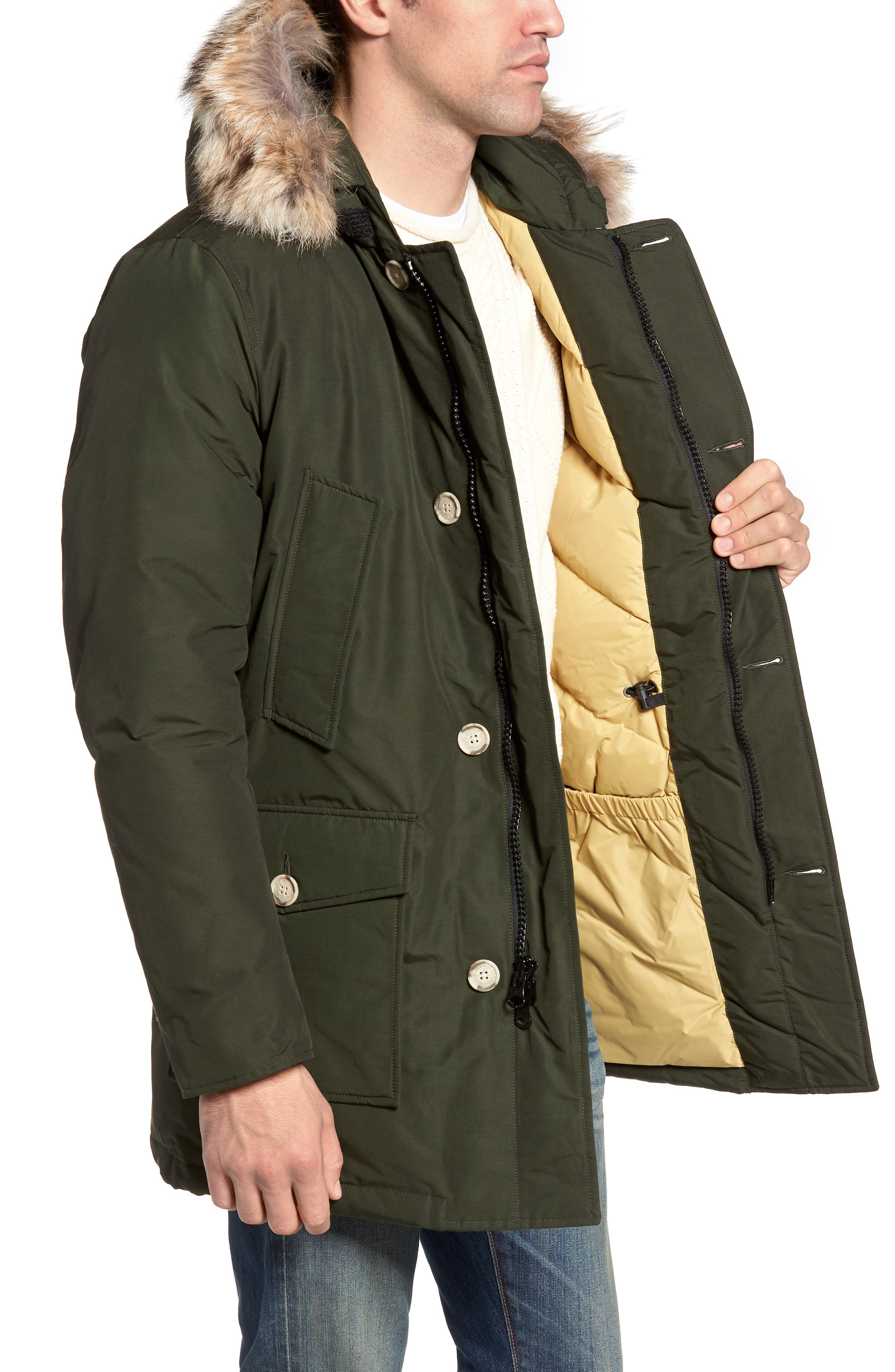 John Rich & Bros. Arctic Parka with Genuine Coyote Fur Trim,                             Alternate thumbnail 3, color,                             Rosin Green
