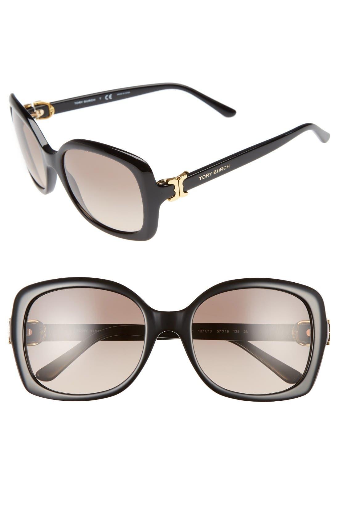57mm Oversized Sunglasses,                             Main thumbnail 1, color,                             Black