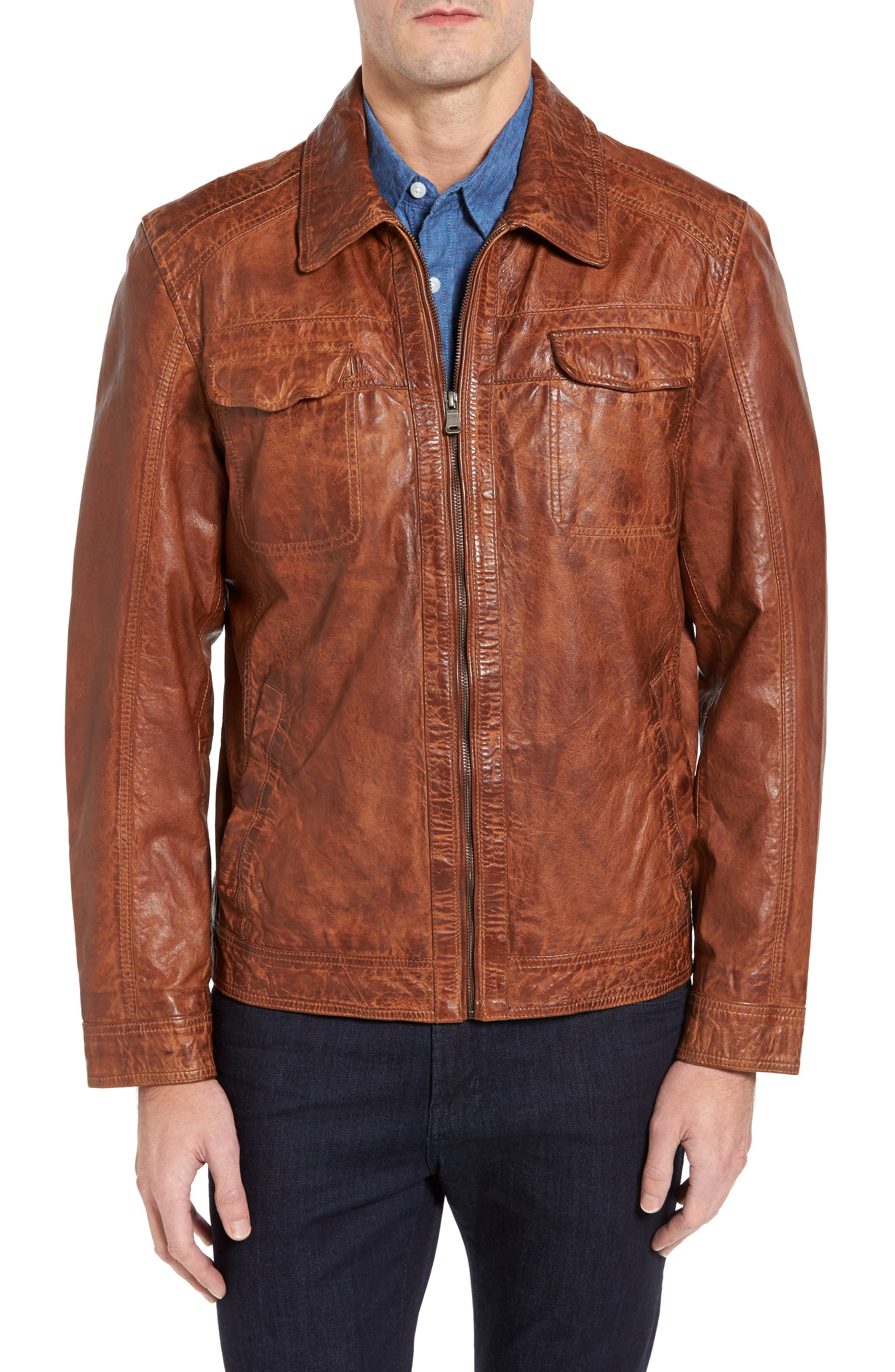 Washed Lamb Leather Jacket,                         Main,                         color, Cognac