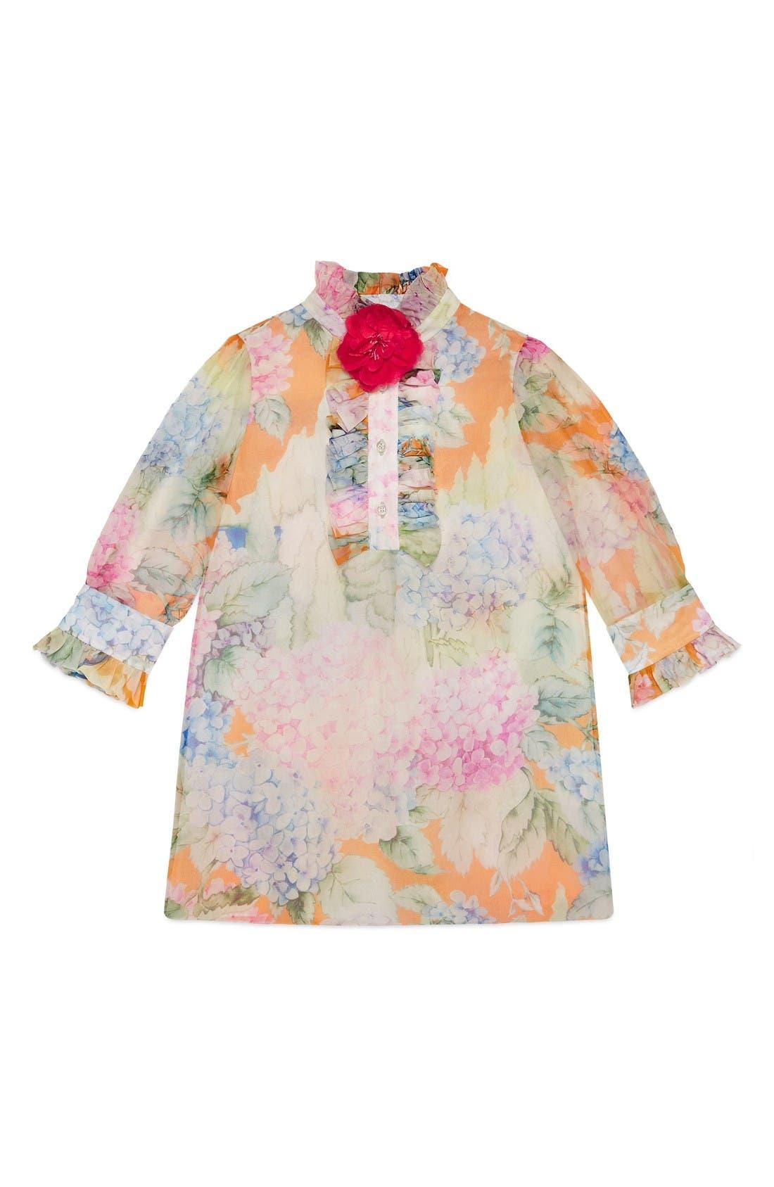 Flower Ruffle Silk Organza Dress,                         Main,                         color, Crystal/ Copper