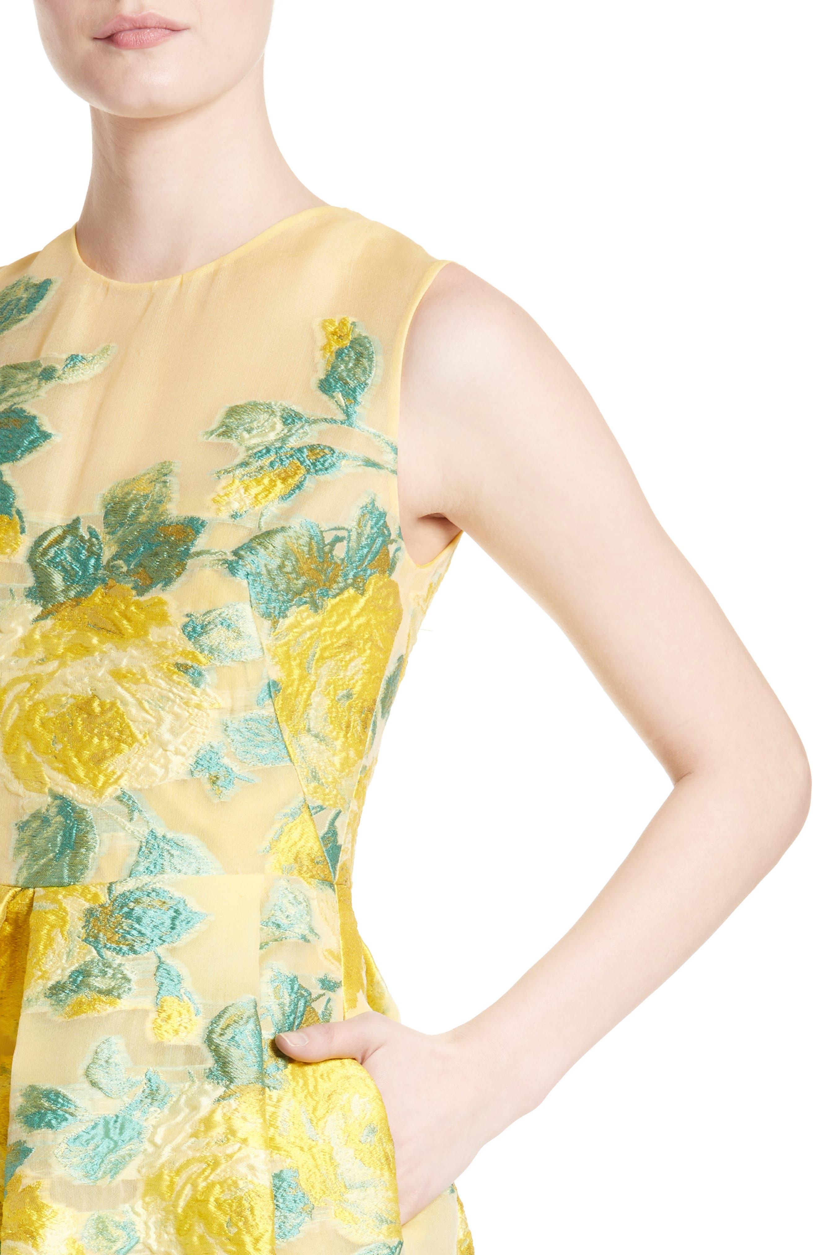 Floral Fil Coupé Dress,                             Alternate thumbnail 6, color,                             Citrine Multi