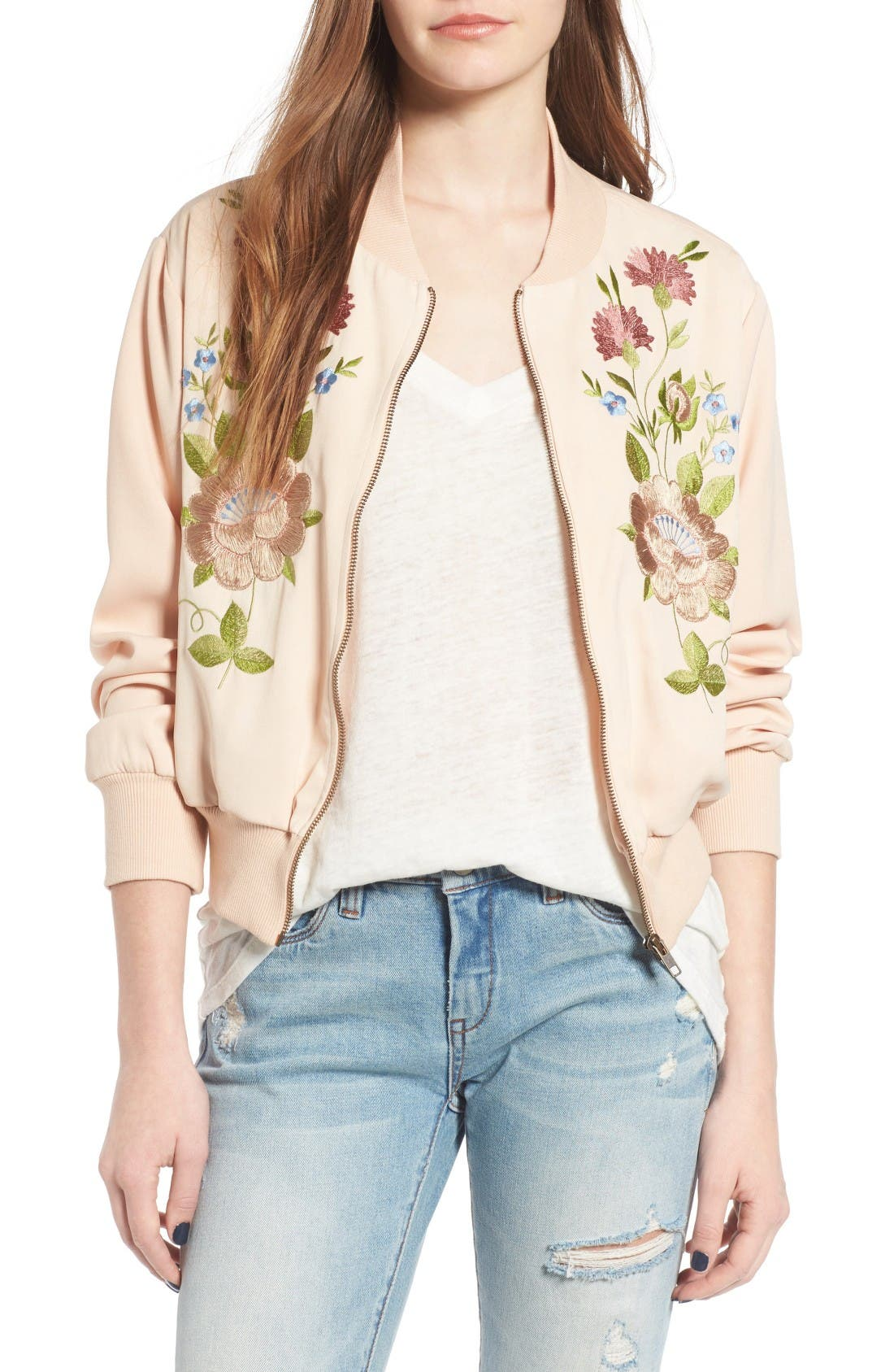 Floral Embroidered Bomber Jacket,                         Main,                         color, Nude
