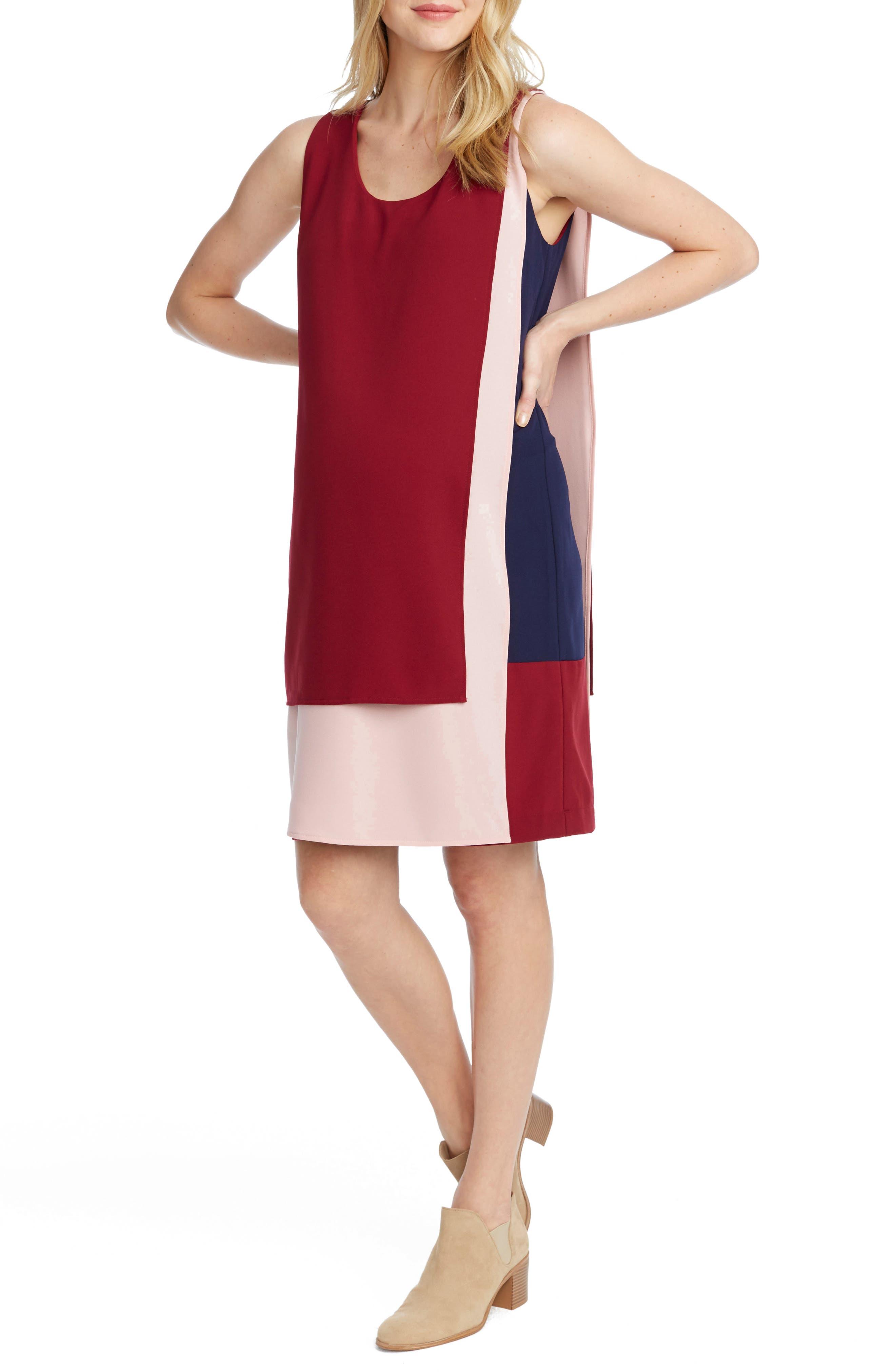 Edina Maternity Shift Dress,                         Main,                         color, Deep Ruby/ Blush/ Navy