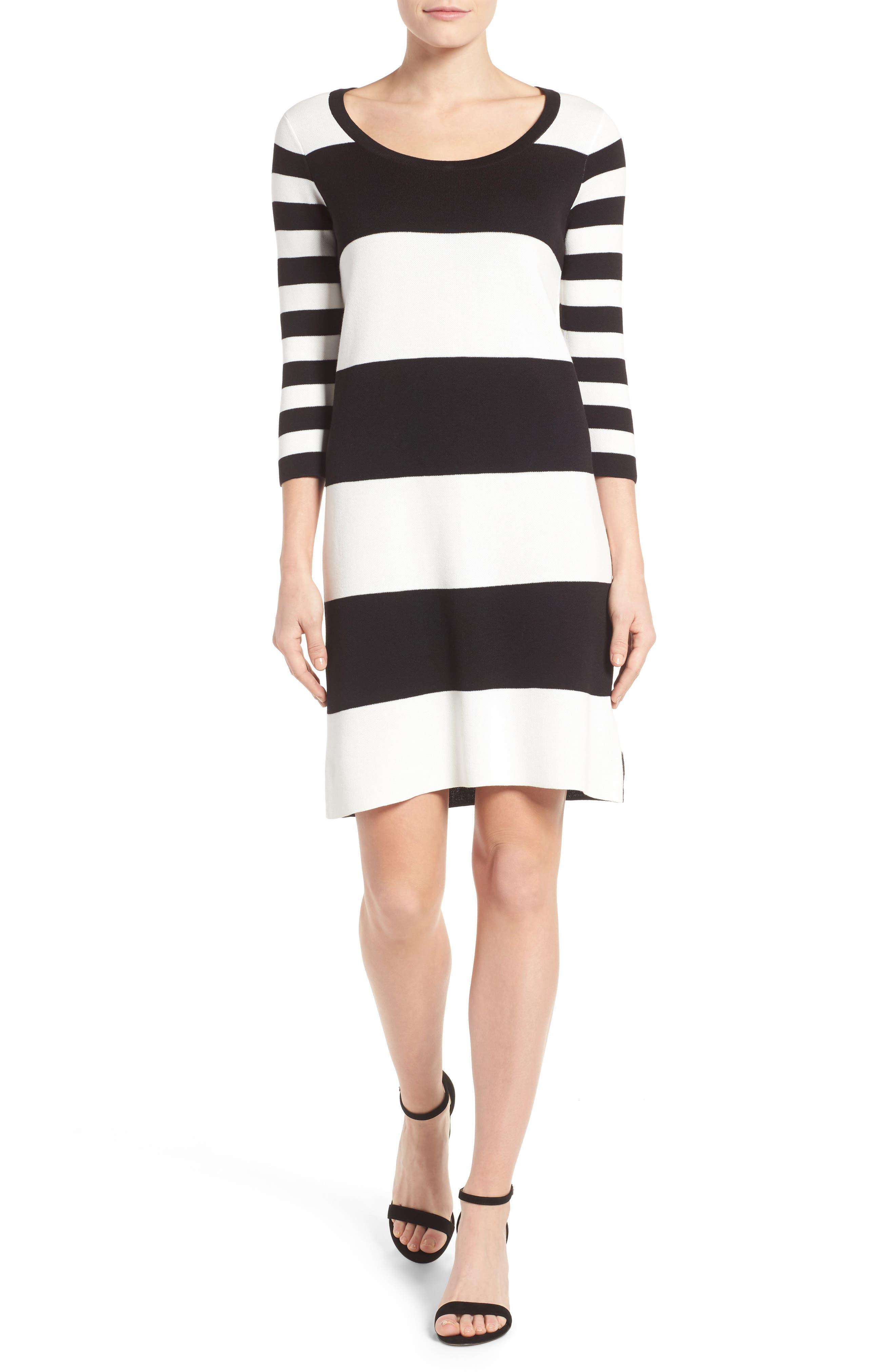 Foxcroft Stripe Knit Dress (Regular & Petite)