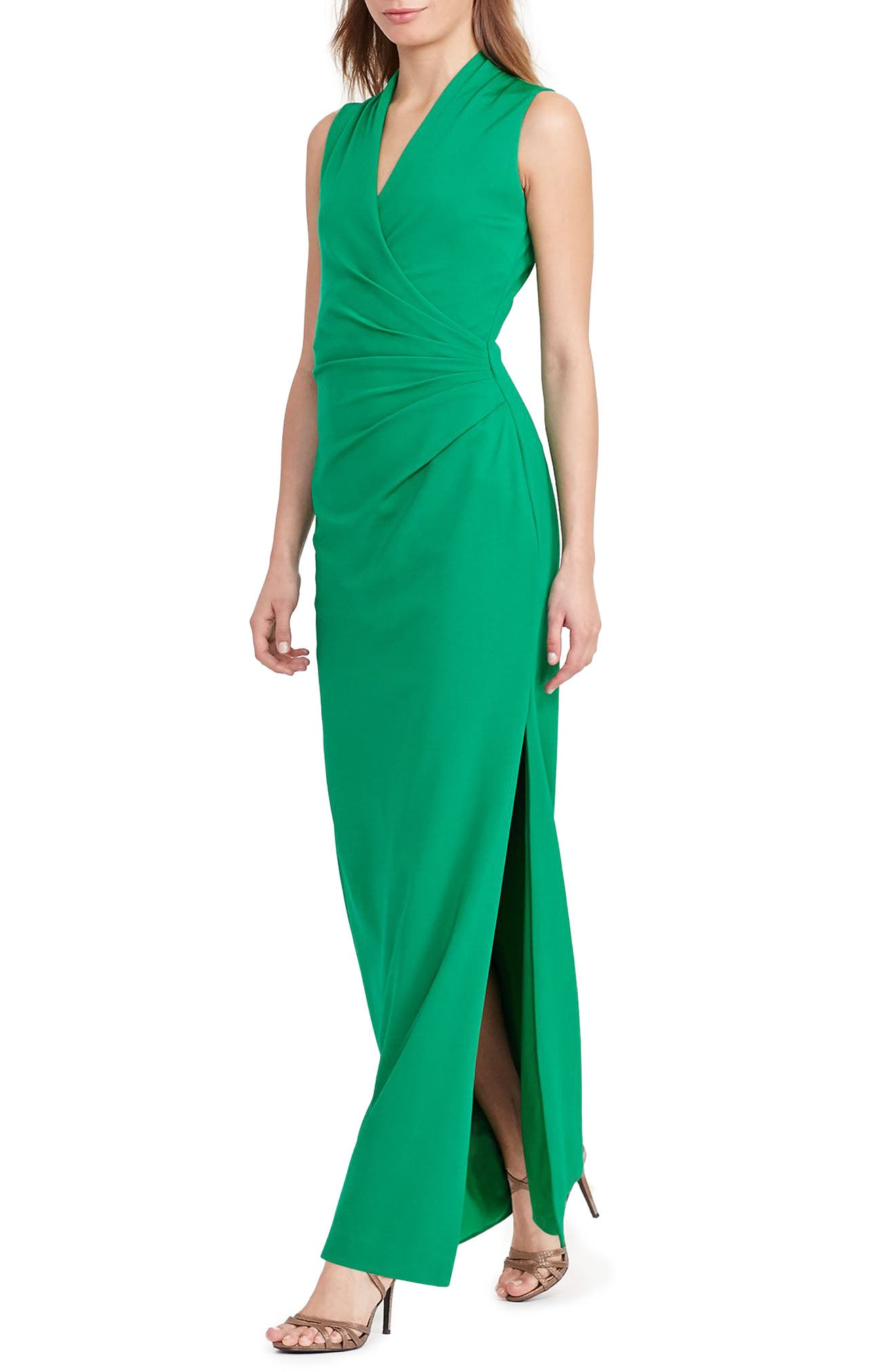 Alternate Image 2  - Lauren Ralph Lauren Ruched Gown (Regular & Petite)