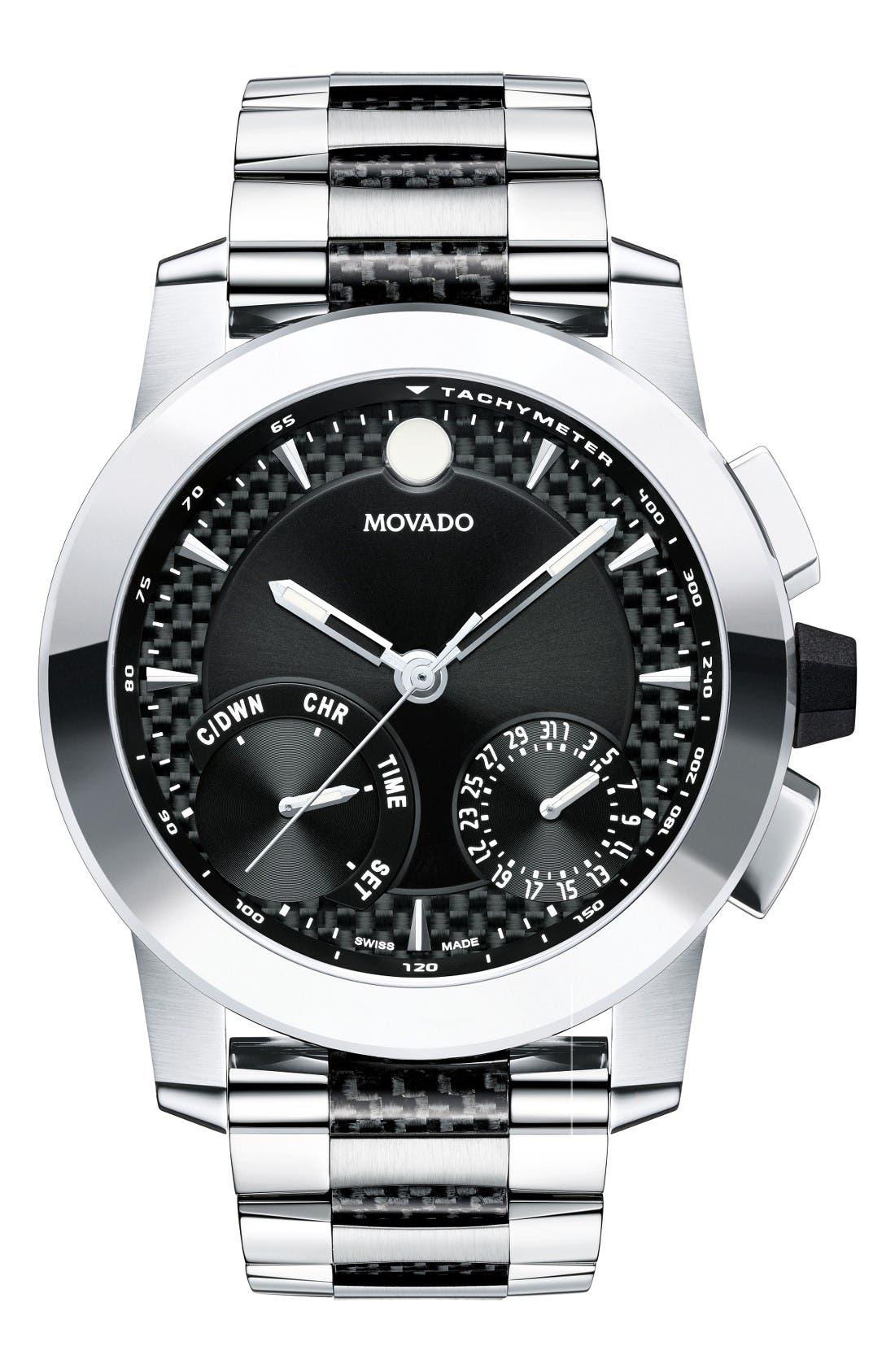 Vizio Chronograph Bracelet Watch, 45mm,                         Main,                         color, Silver/ Black