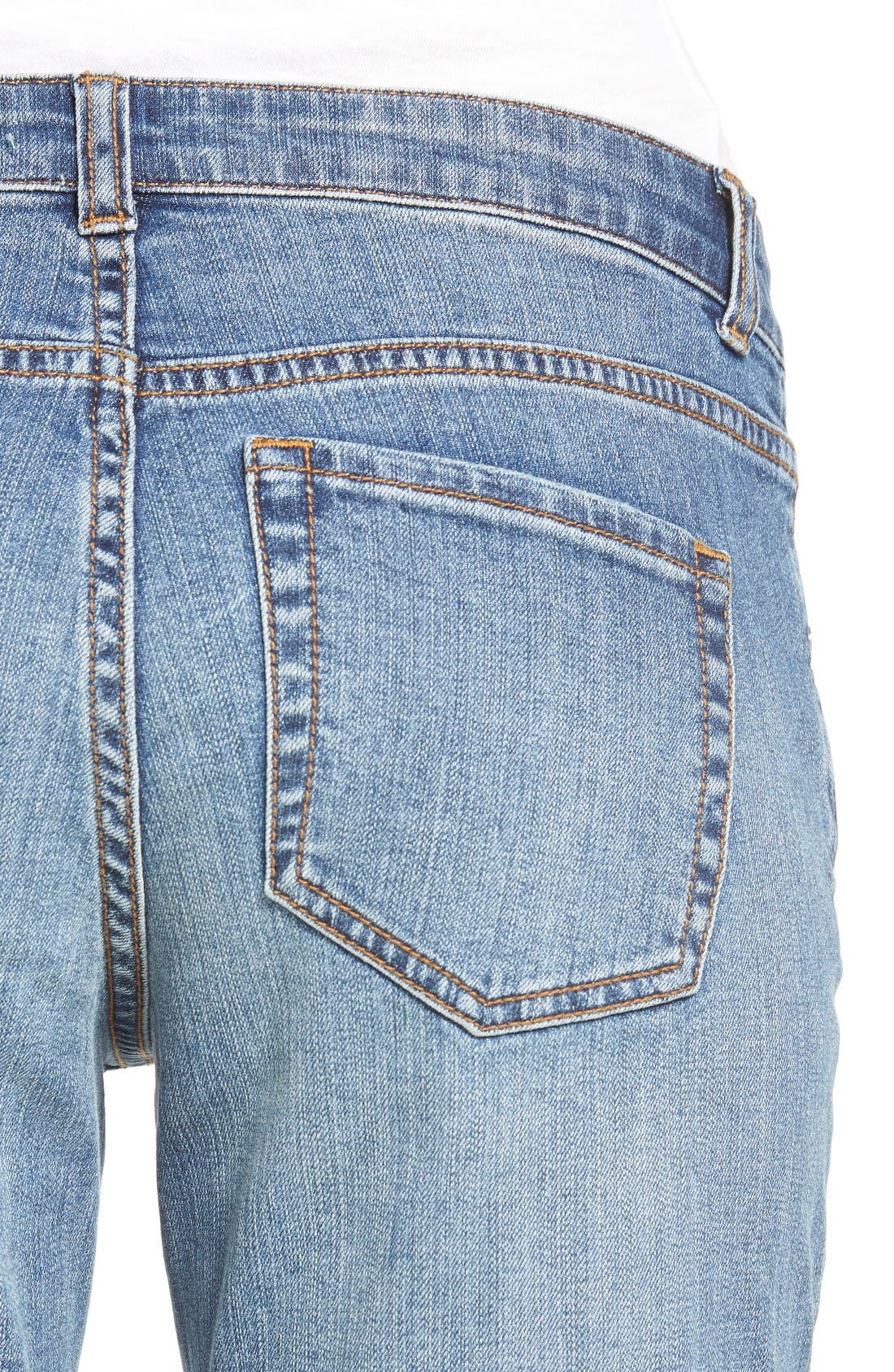 Alternate Image 5  - Caslon® Distressed Roll Cuff Crop Jeans (Regular & Petite) (Blue Sandwash)